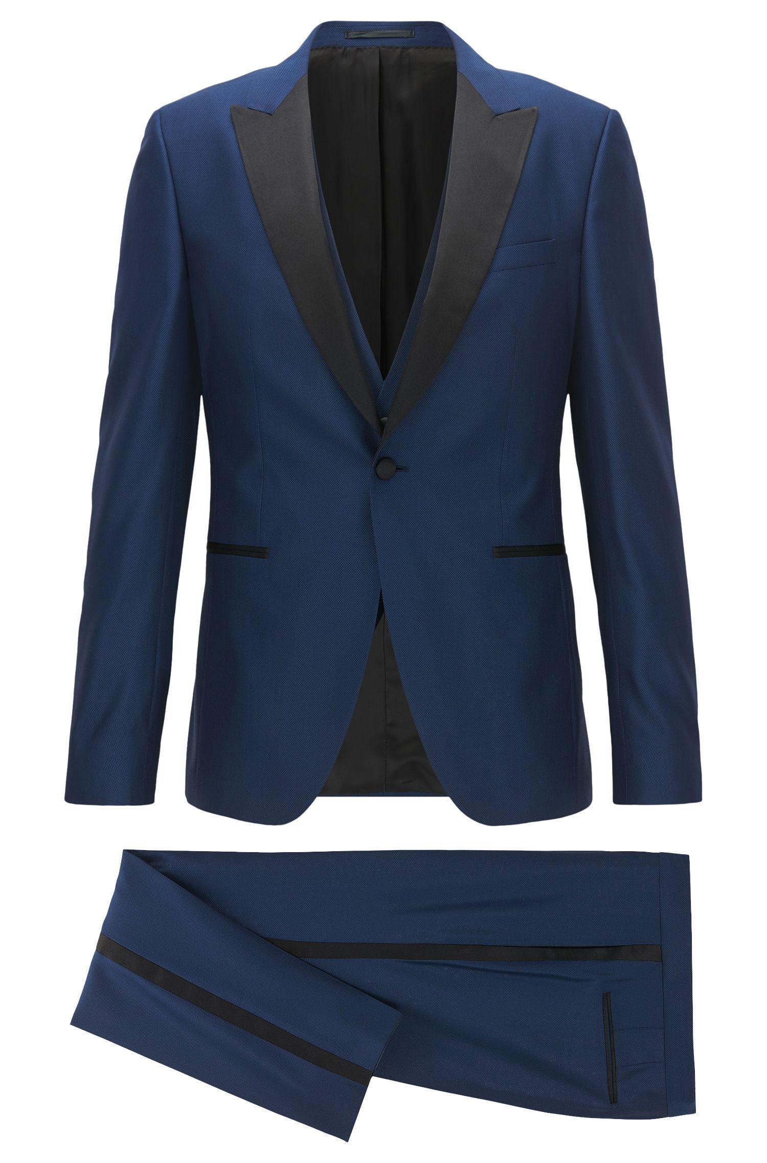 Stretch Wool 3-Piece Tuxedo, Extra Slim Fit | Rendal/Wilden WE, Dark Blue