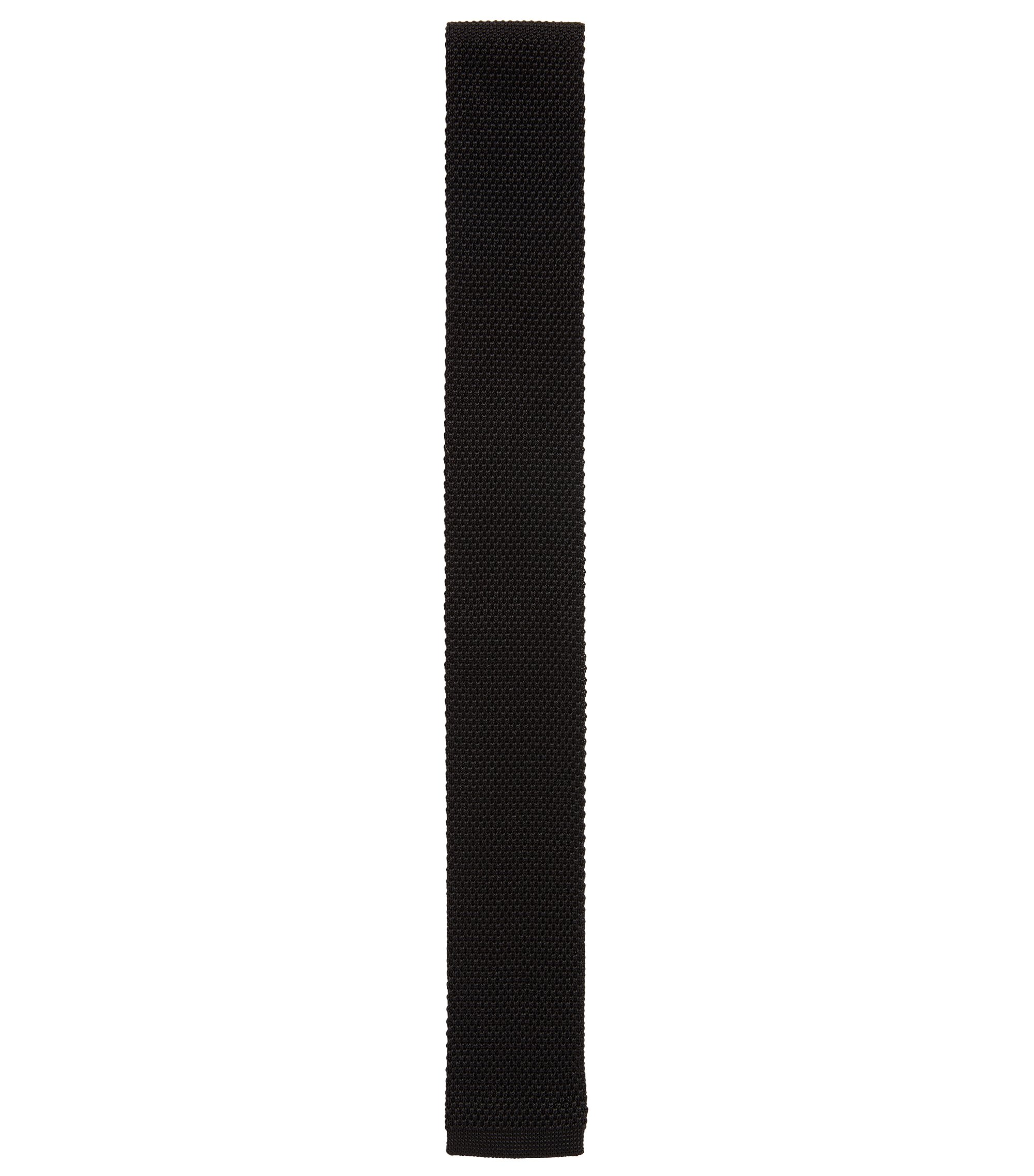 Italian Silk Knit Skinny Tie, Black