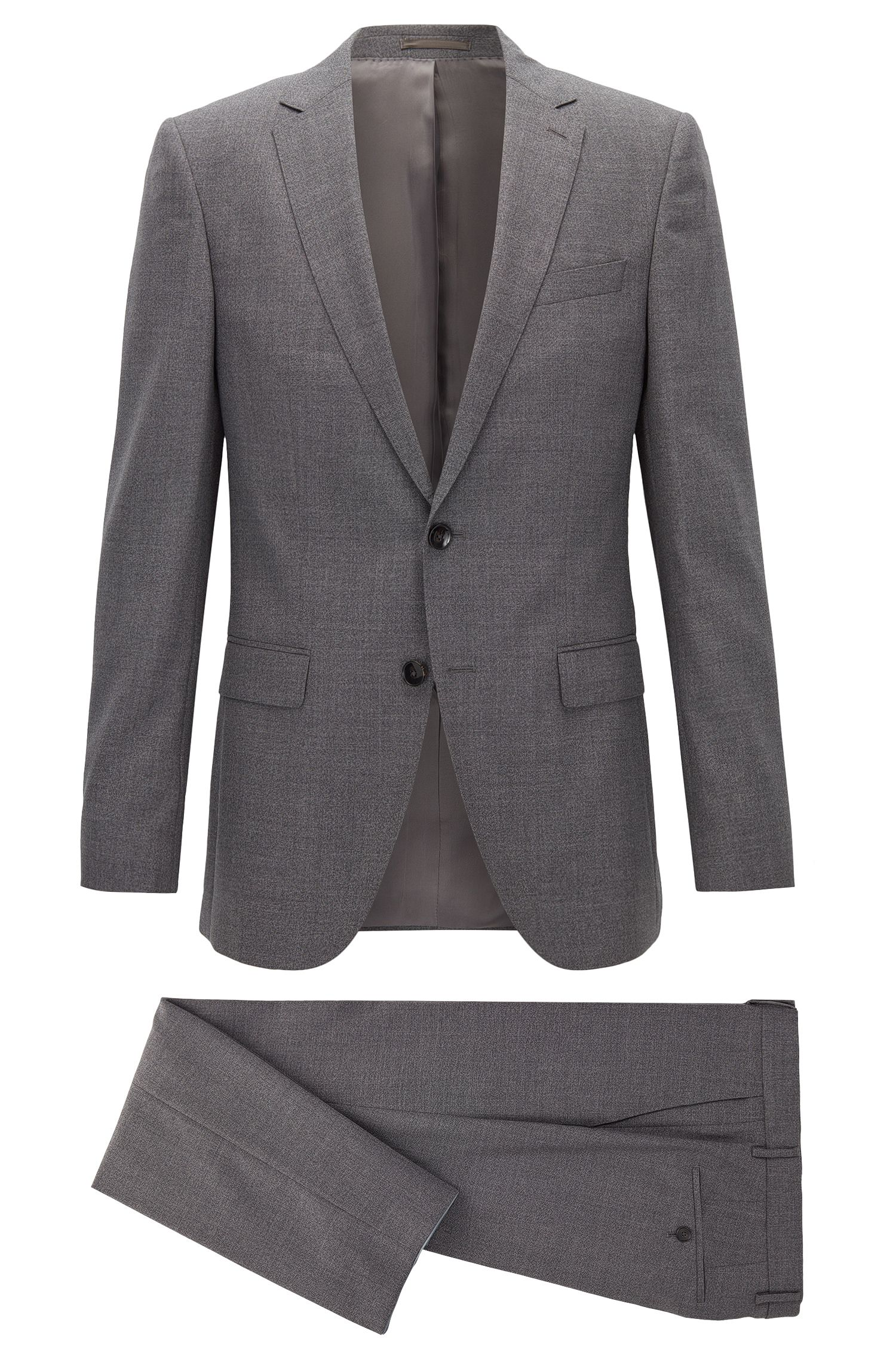 Heathered Virgin Wool Suit, Slim Fit | Novan/Ben