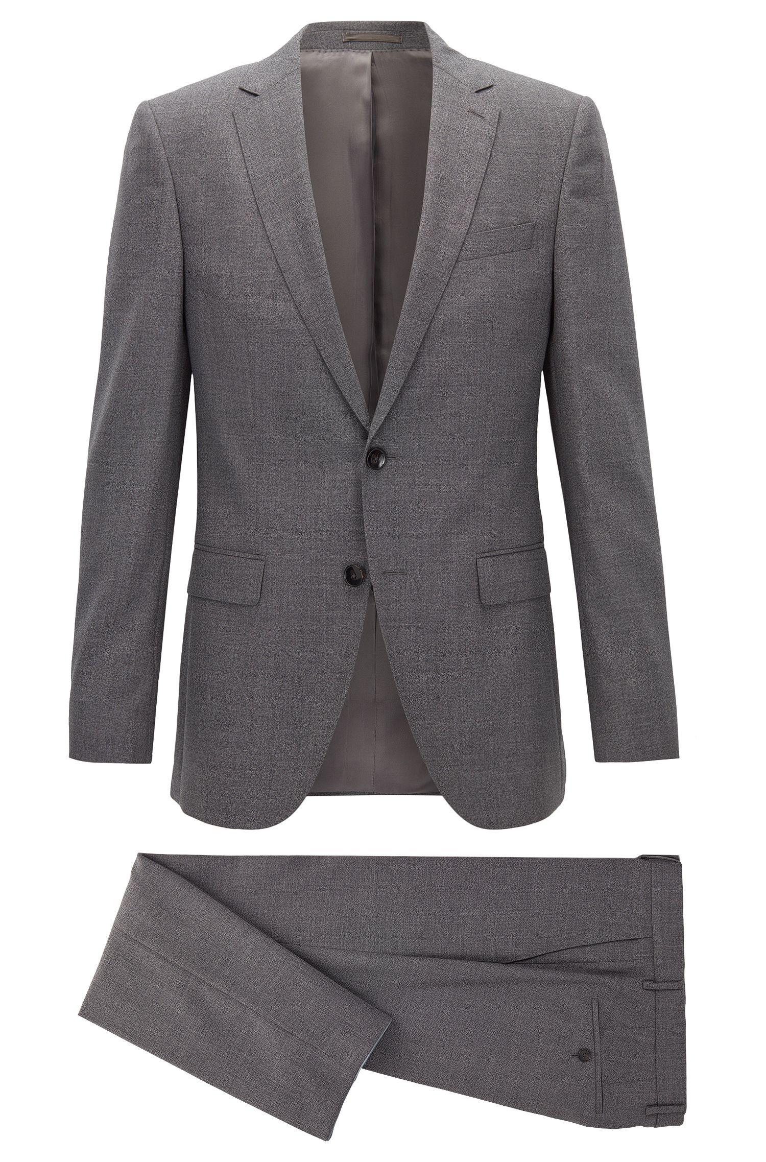 Heathered Virgin Wool Suit, Slim Fit | Novan/Ben