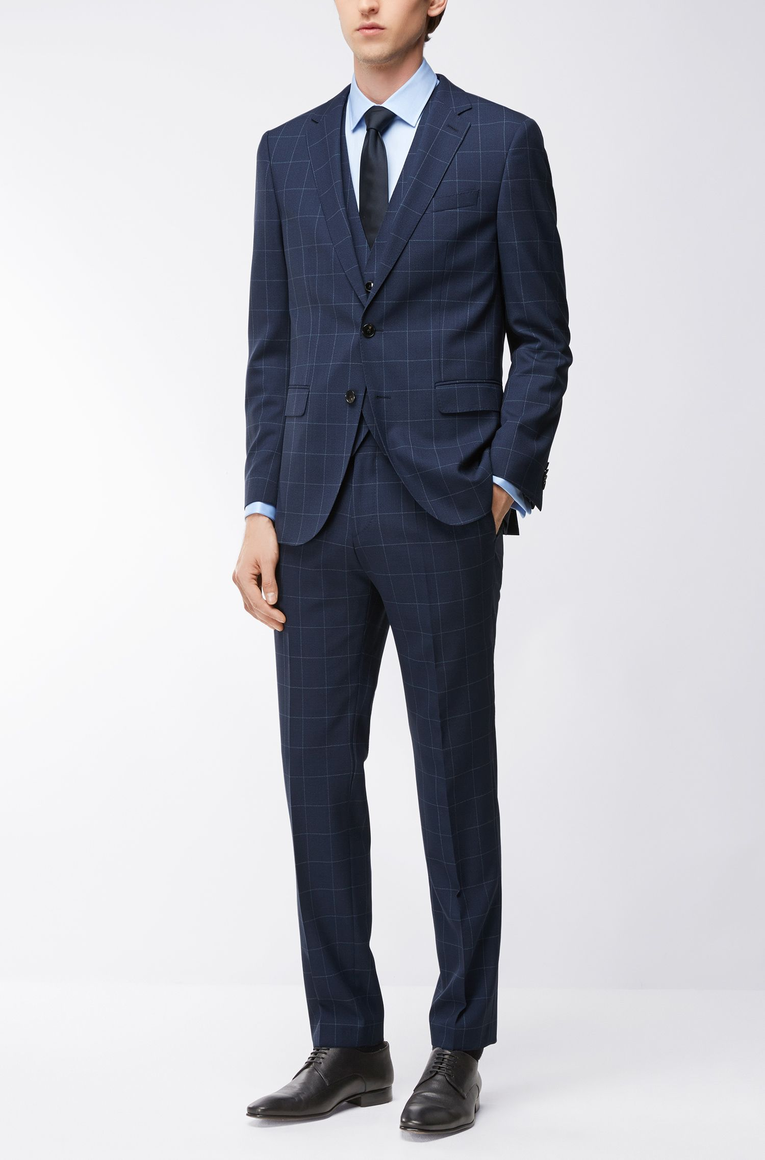 Super 100s Wool 3-Piece Suit, Slim Fit | Novan/Ben WE, Dark Blue