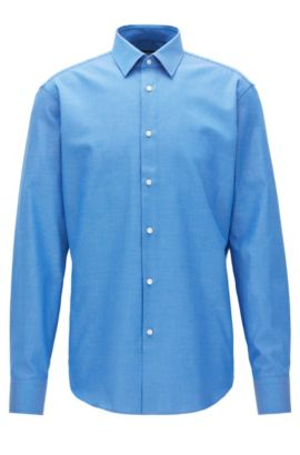 Birdseye Cotton Dress Shirt, Regular Fit | Enzo, Blue