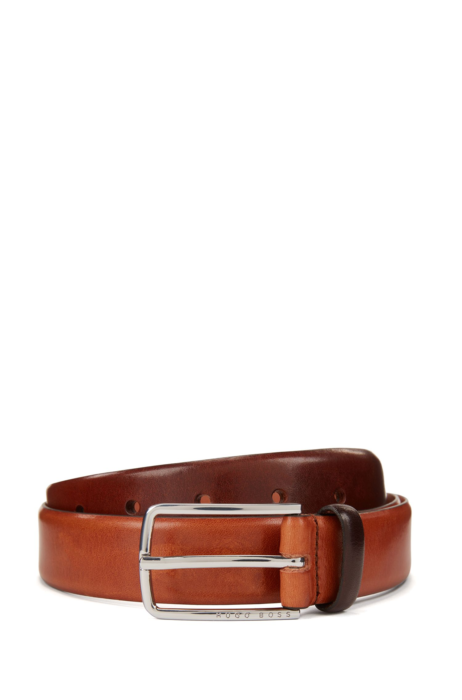 Rounded-edge belt in vegetable-tanned leather with silver buckle, Brown