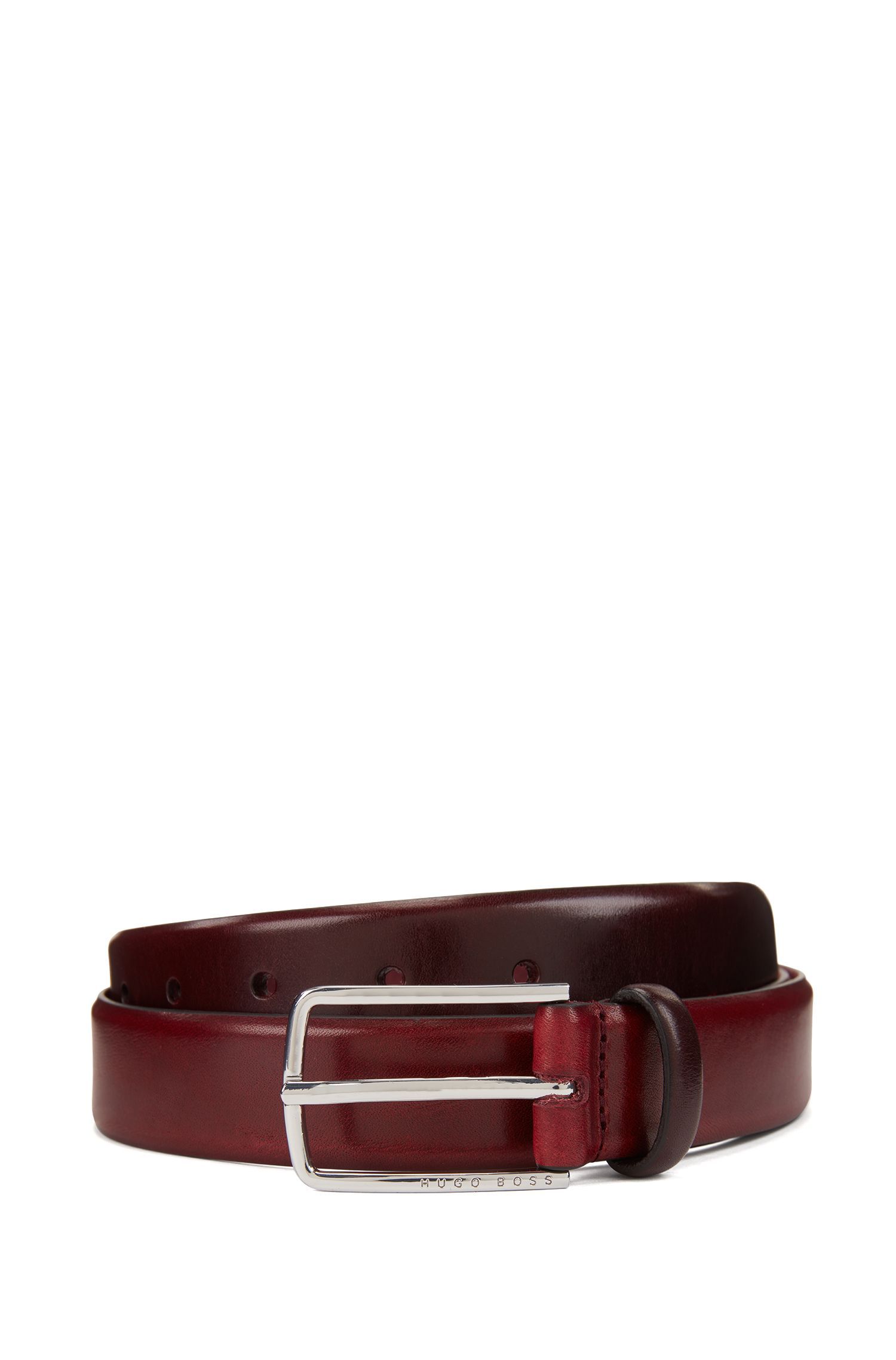 Rounded-edge belt in vegetable-tanned leather with silver buckle, Dark Red