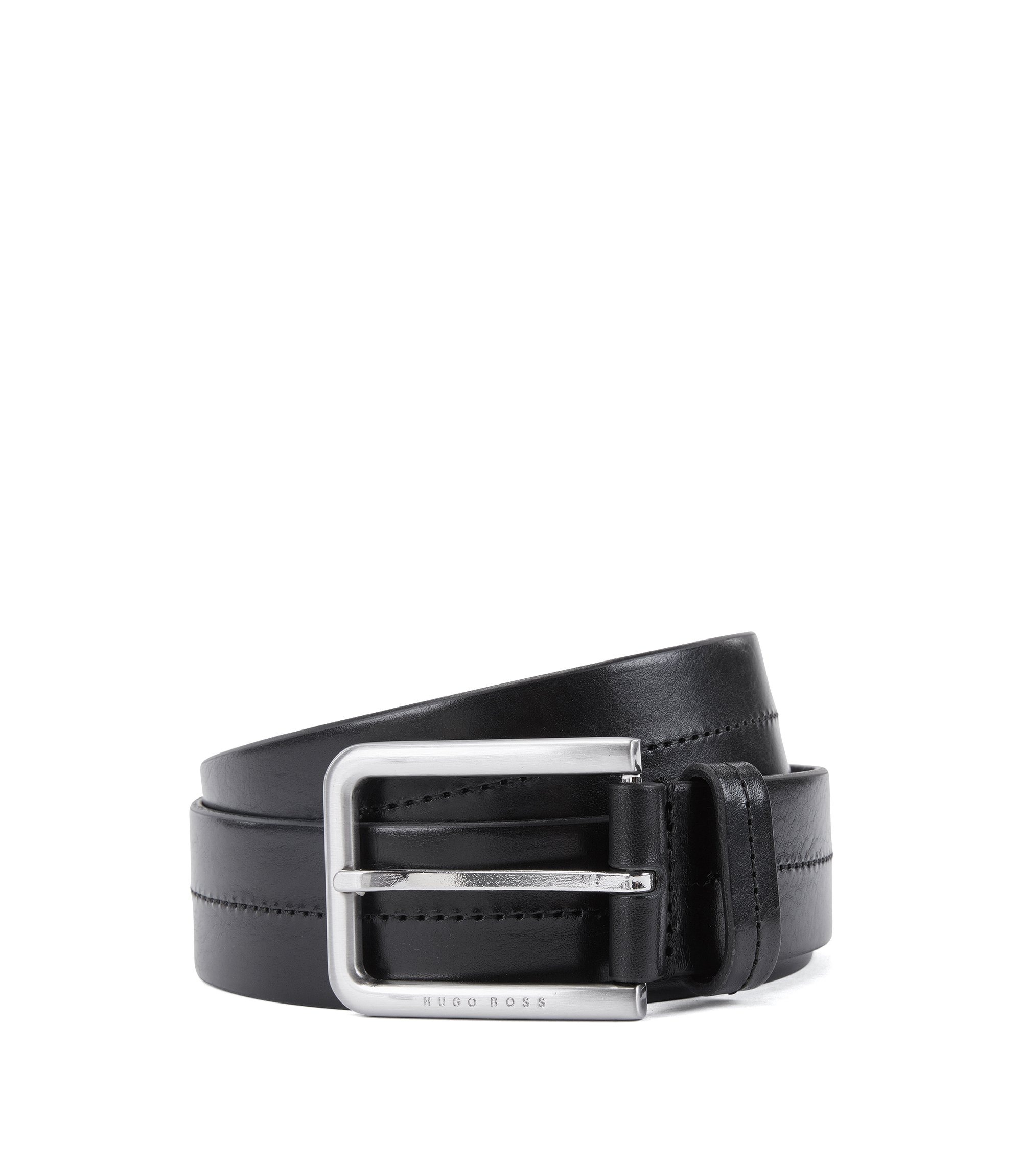 Leather Belt | Sil , Black