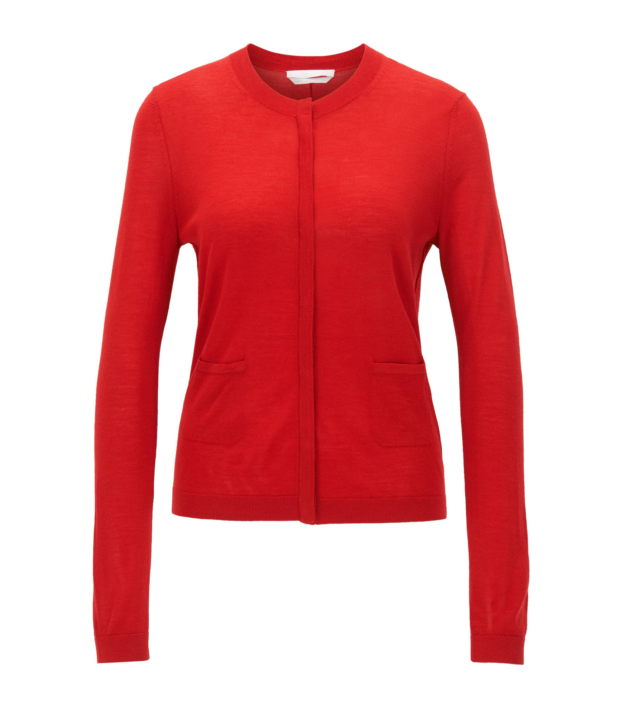 Virgin Wool Cardigan | Fuyuma, Red