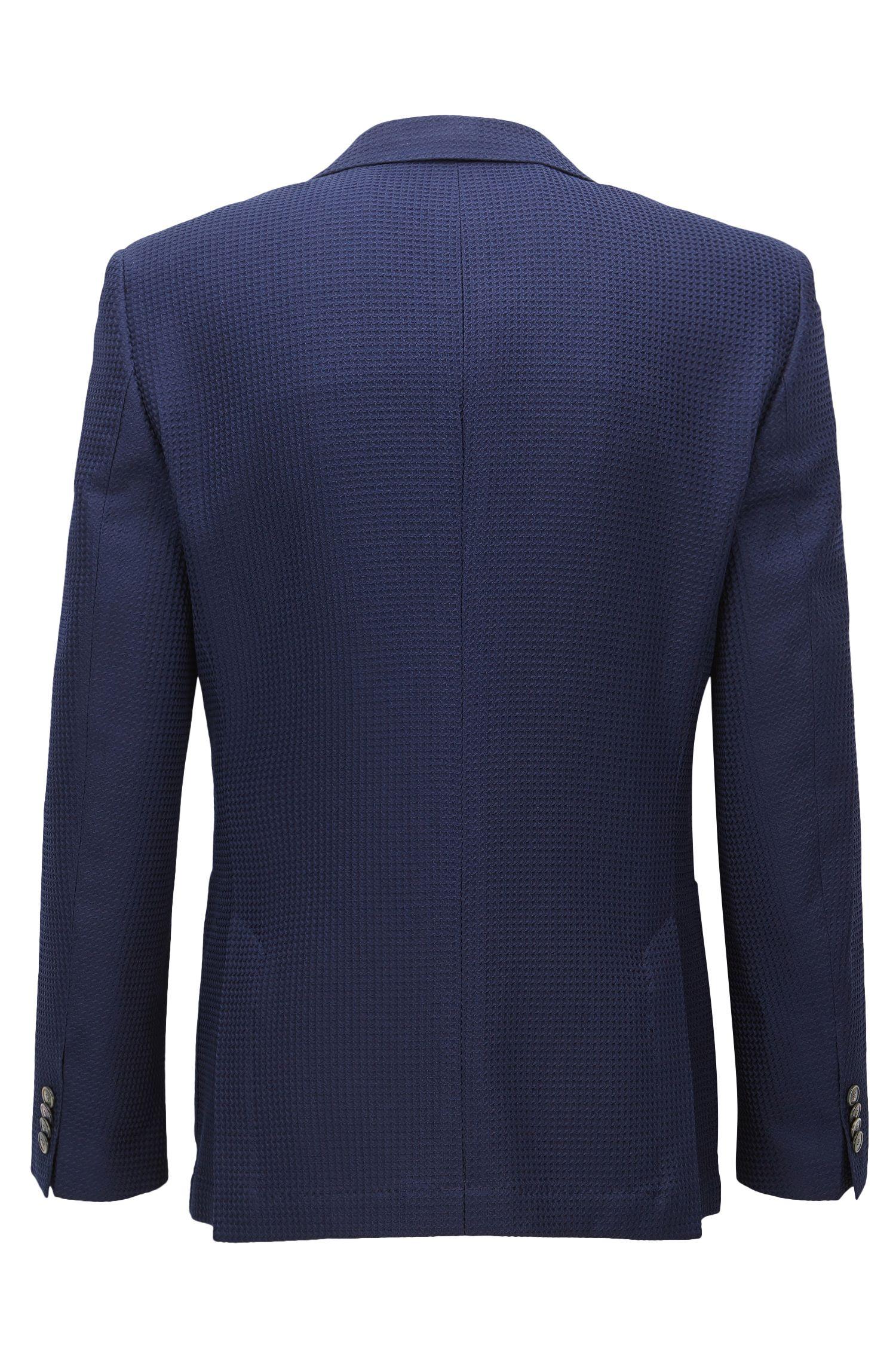 Waffle-Knit Wool Cotton Sport Coat, Regular Fit | Janson, Dark Blue