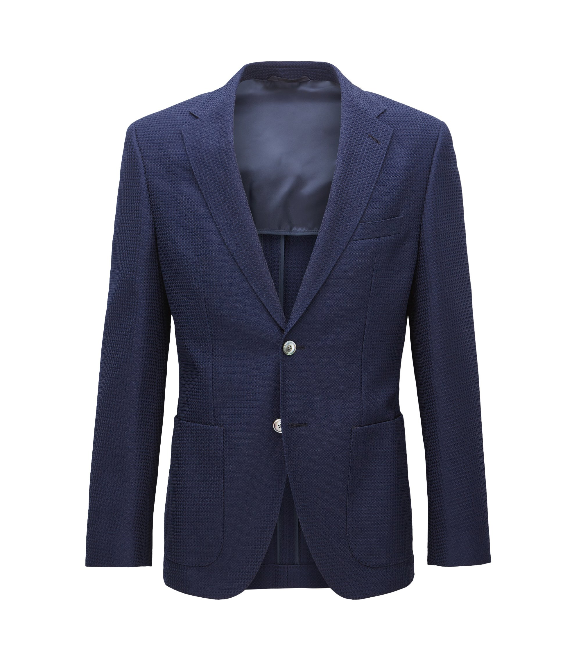 Waffle-Knit Wool Cotton Sport Coat, Regular Fit | Janson, Dark Blue