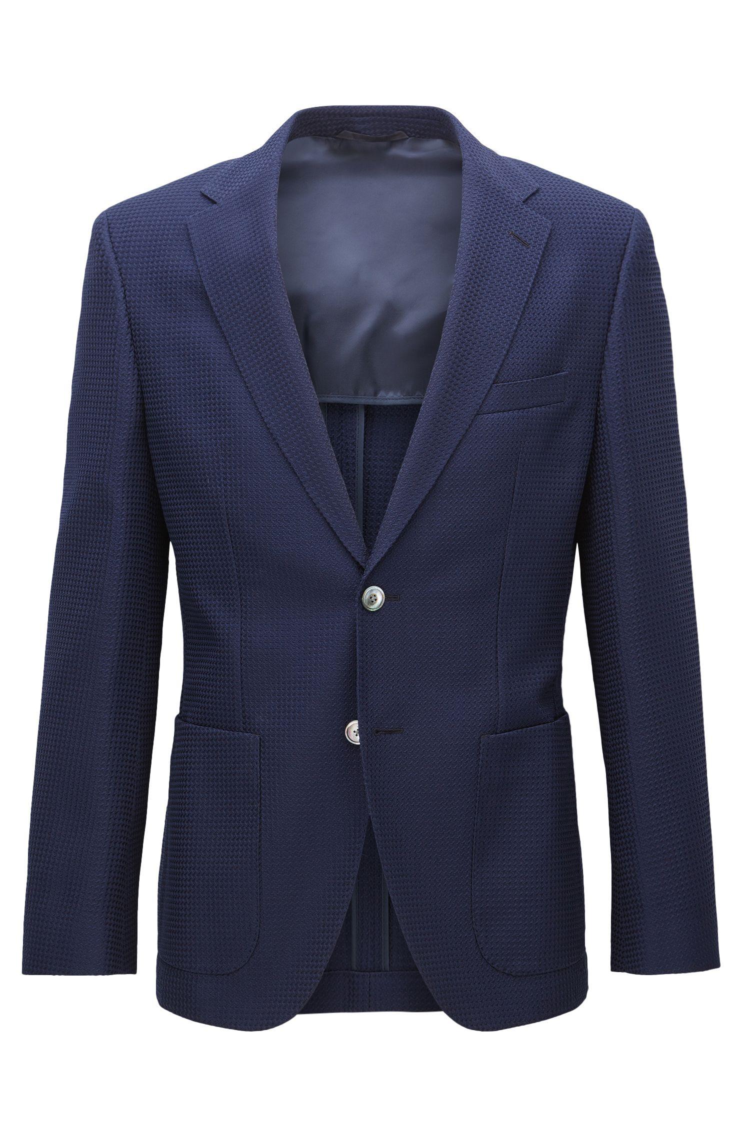 Waffle-Knit Virgin Wool Cotton Sport Coat, Regular Fit   Janson