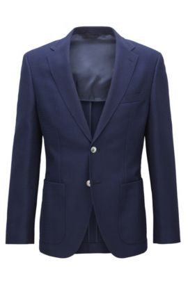 Waffle-Knit Virgin Wool Cotton Sport Coat, Regular Fit | Janson, Dark Blue