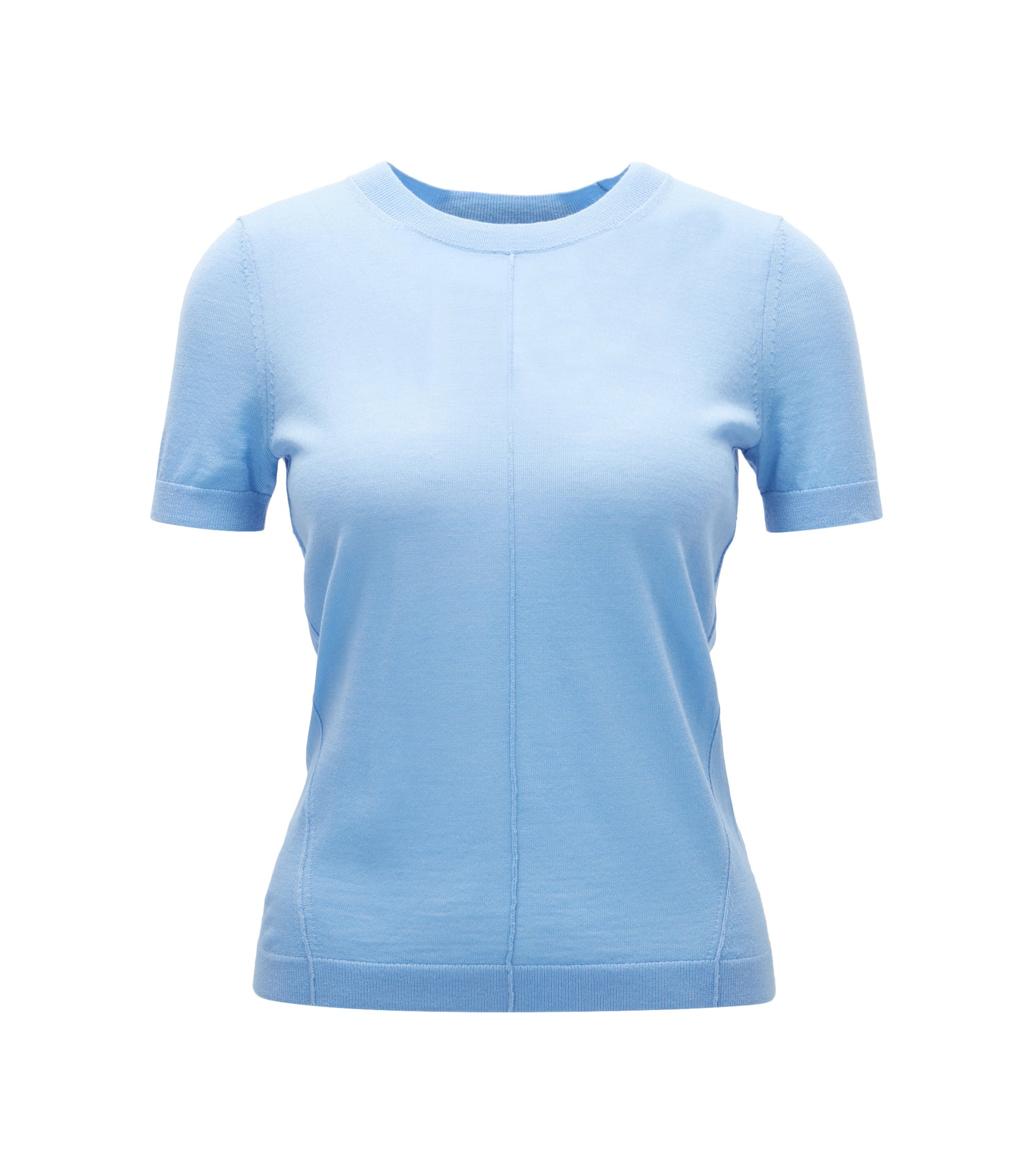 Virgin Wool Knit Top | Fuyuka, Turquoise