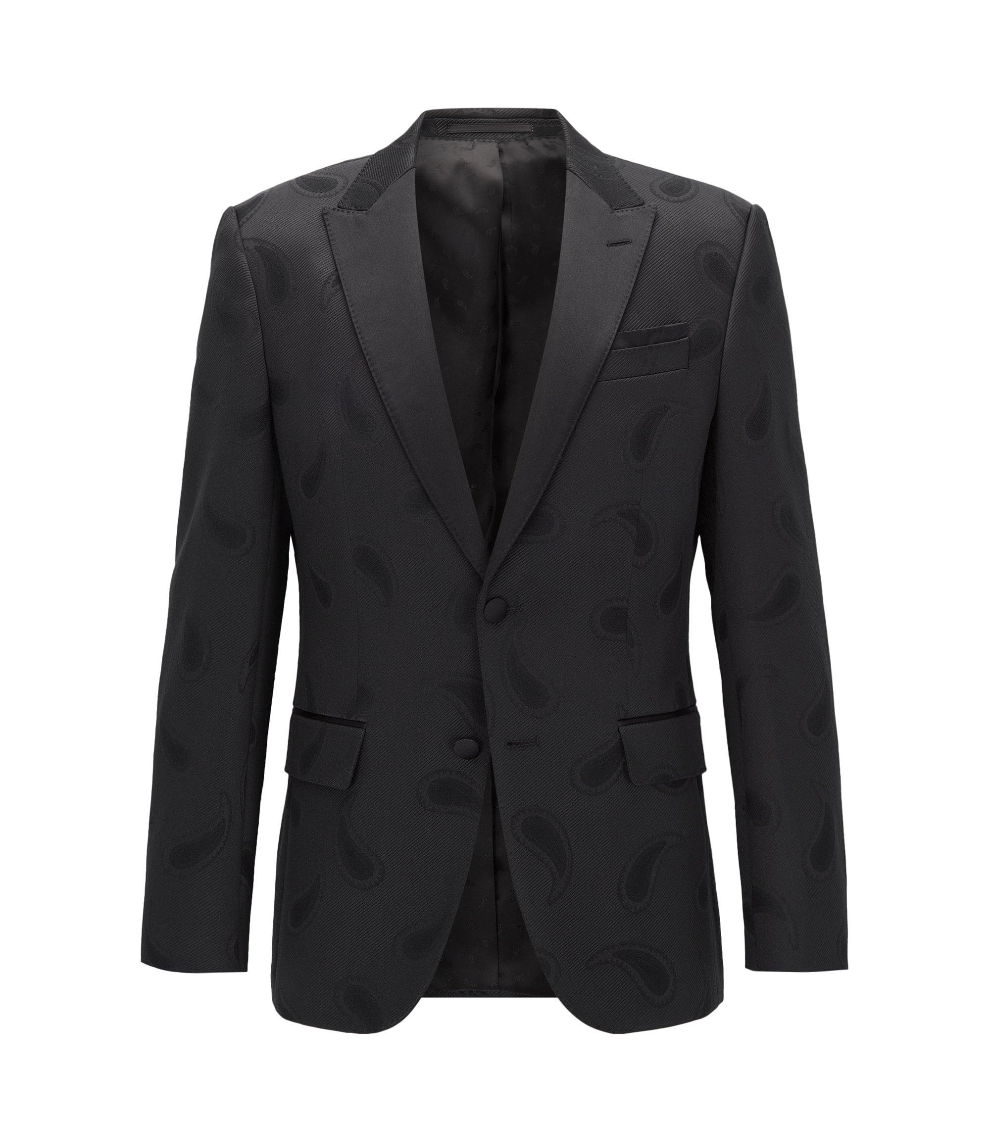 Stretch Paisley Sport Coat, Slim Fit   Helward, Black