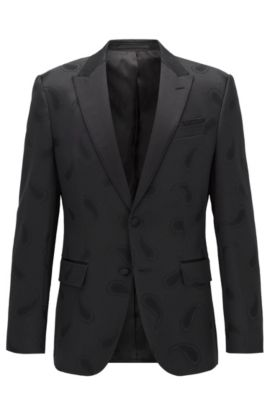 Stretch Paisley Sport Coat, Slim Fit | Helward, Black