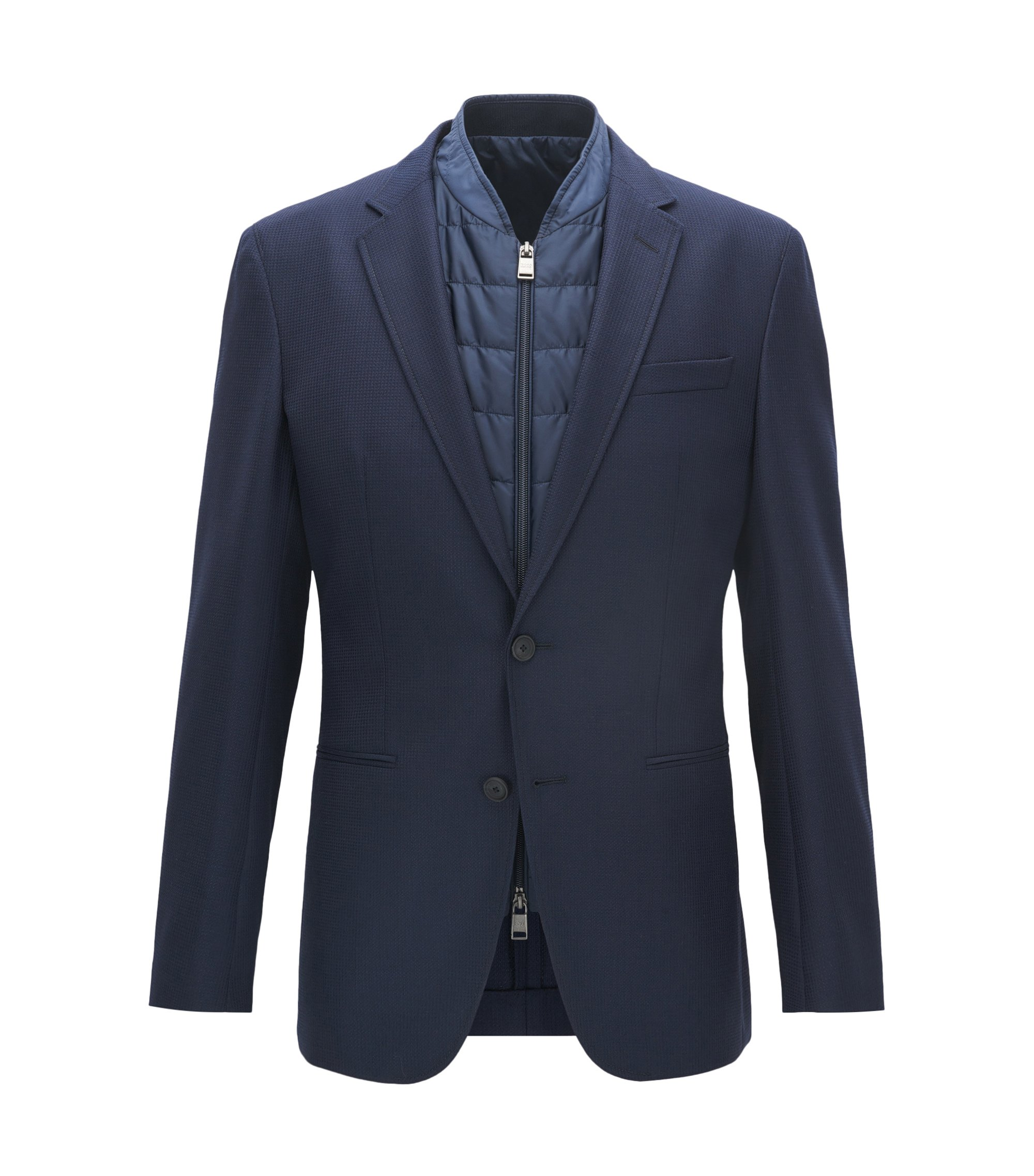 Stretch Tailoring Virgin Wool Sport Coat, Slim Fit | Haylen, Dark Blue