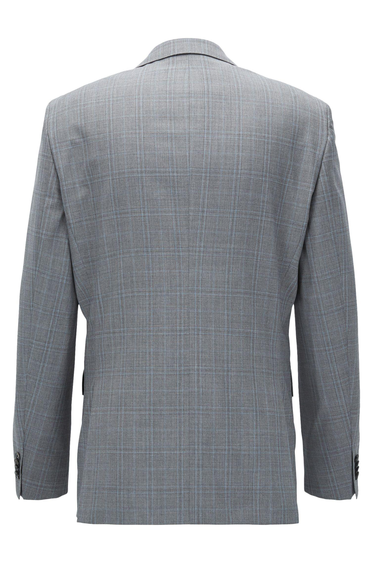 Plaid Virgin Wool Suit, Regular Fit | Johnstons/Lenon, Light Blue