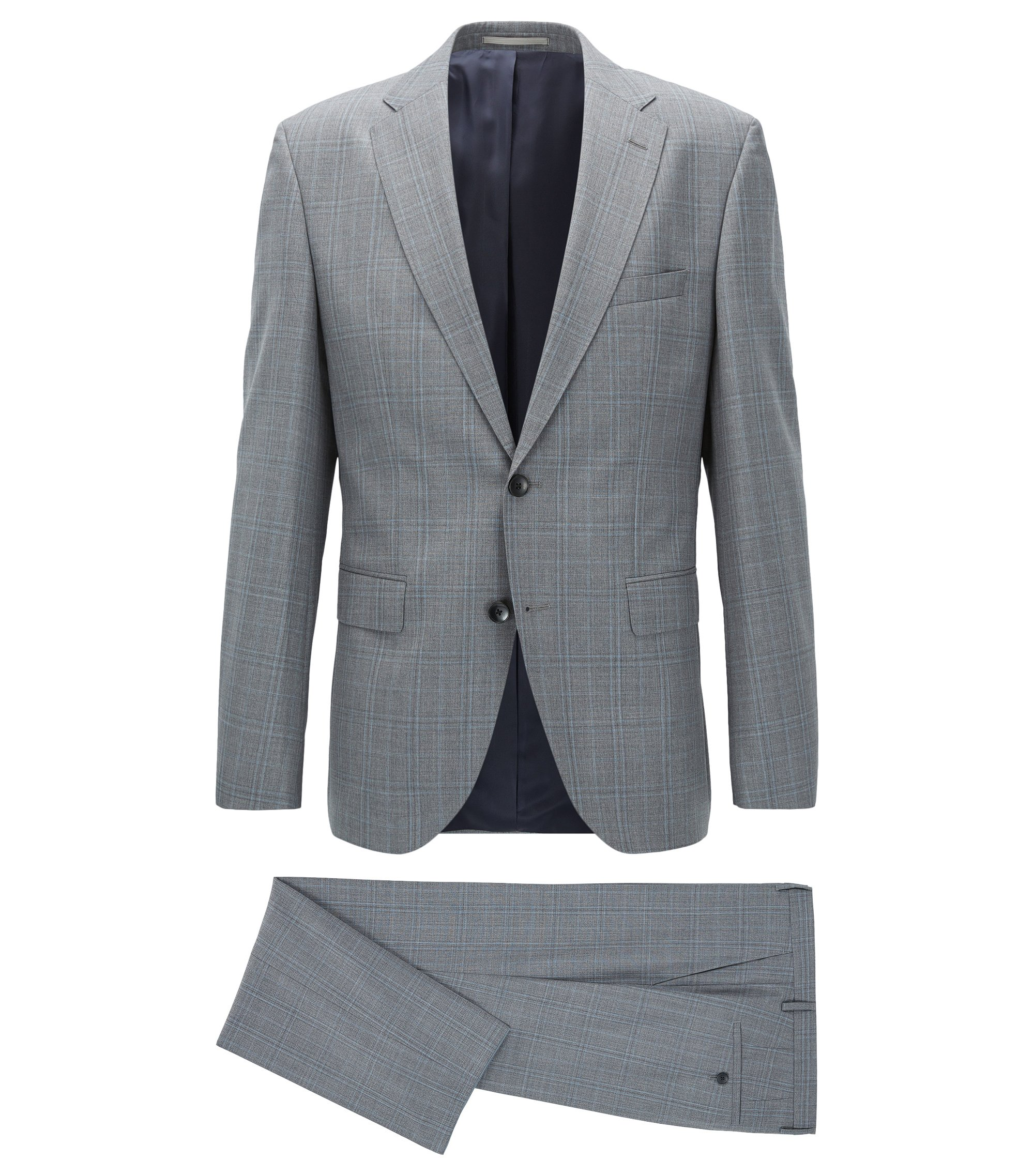 Plaid Virgin Wool Suit, Regular Fit | Johnstons/Lenon, Light Blue