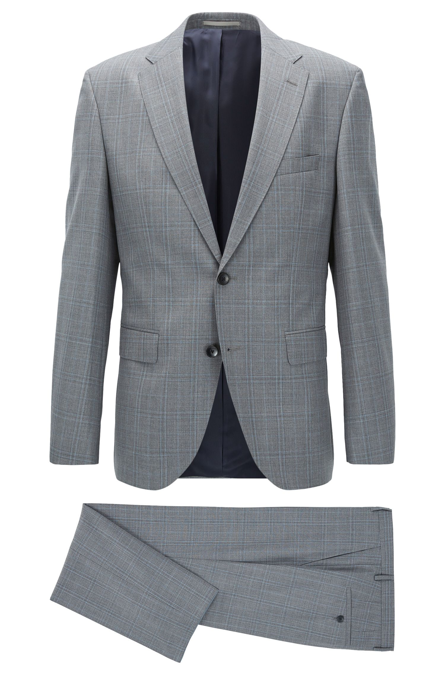 Plaid Virgin Wool Suit, Regular Fit | Johnstons/Lenon