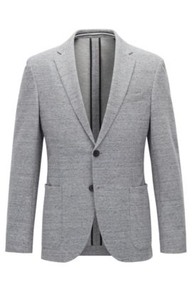 Jersey blend Tweed Sport Coat, Slim Fit | Newon J, Open Grey
