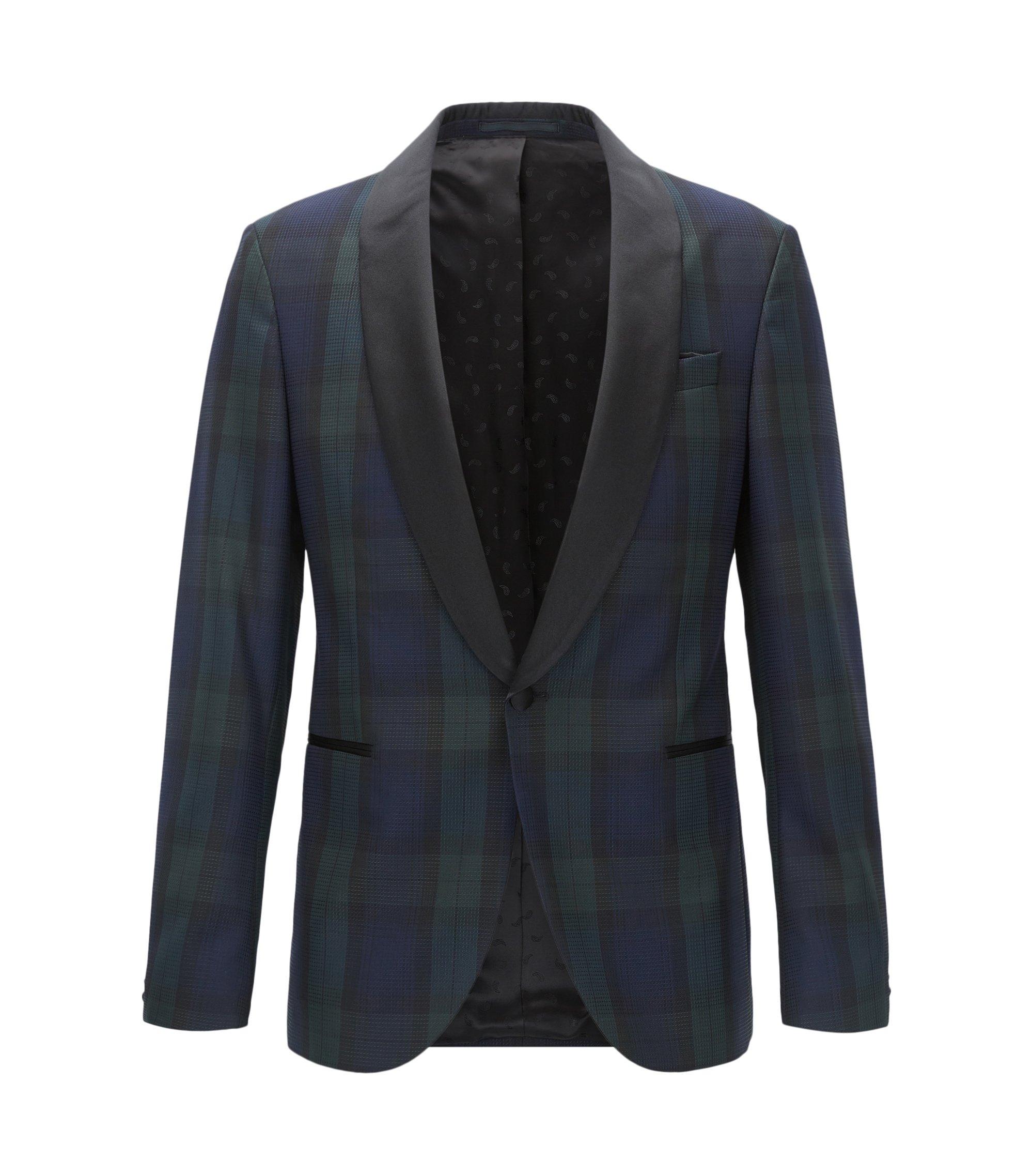 Black Watch Plaid Wool Evening Jacket, Slim Fit   Nemir, Open Green