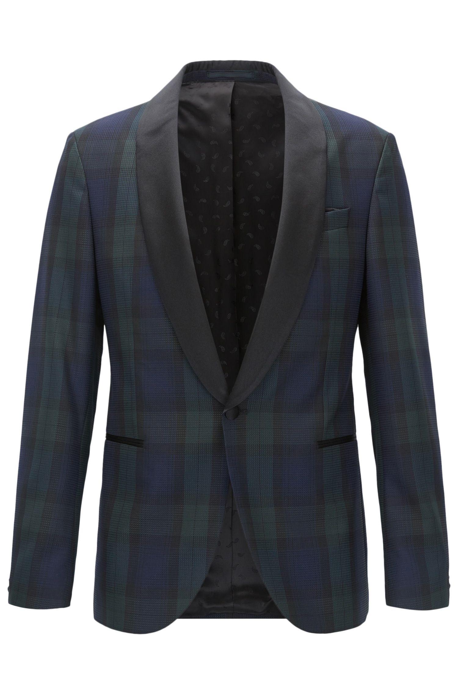 Black Watch Plaid Wool Evening Jacket, Slim Fit | Nemir