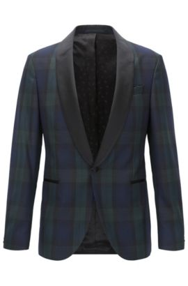 Black Watch Plaid Wool Evening Jacket, Slim Fit | Nemir, Open Green