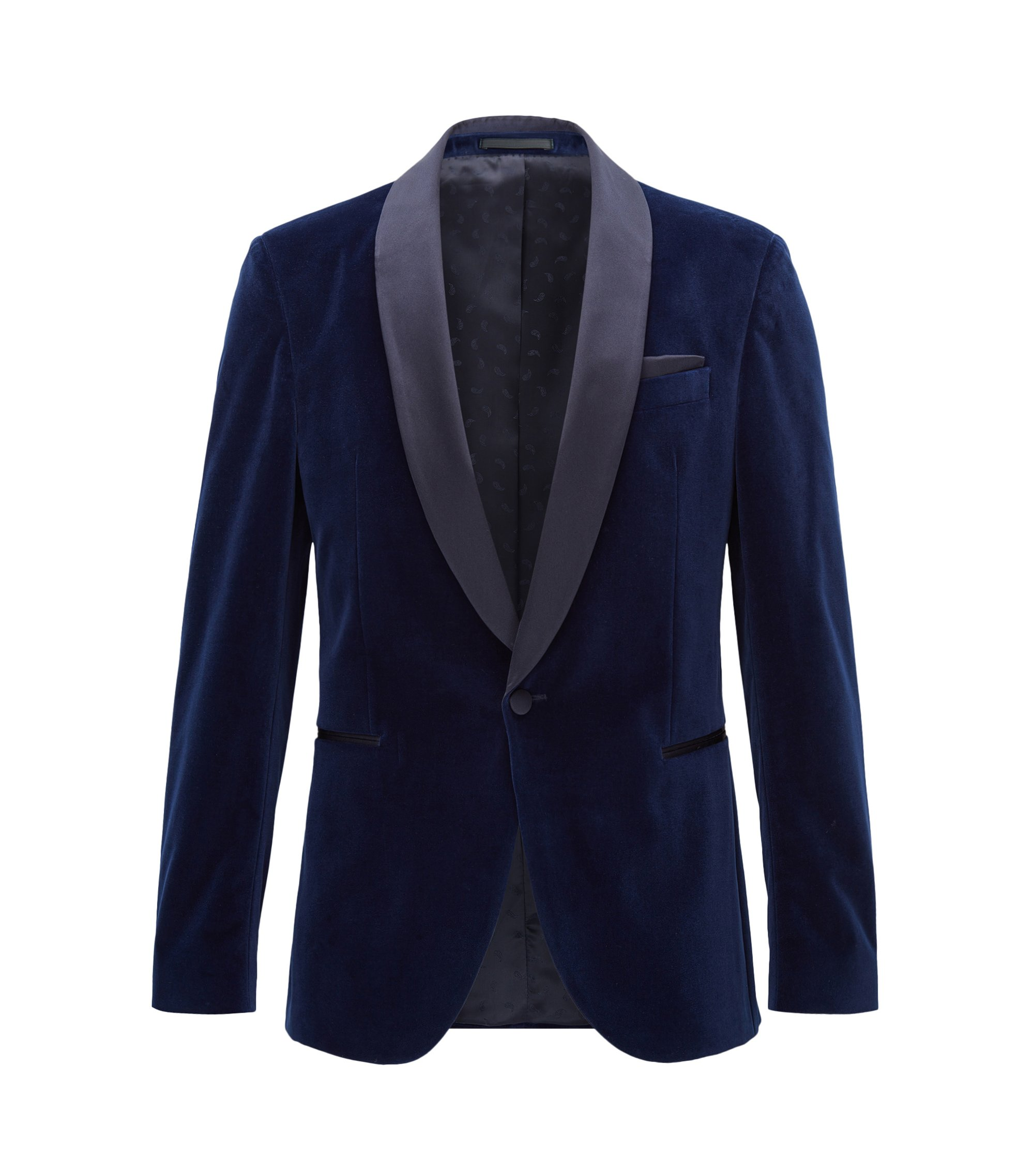 Velvet Dinner Jacket, Slim Fit | Nemir , Dark Blue