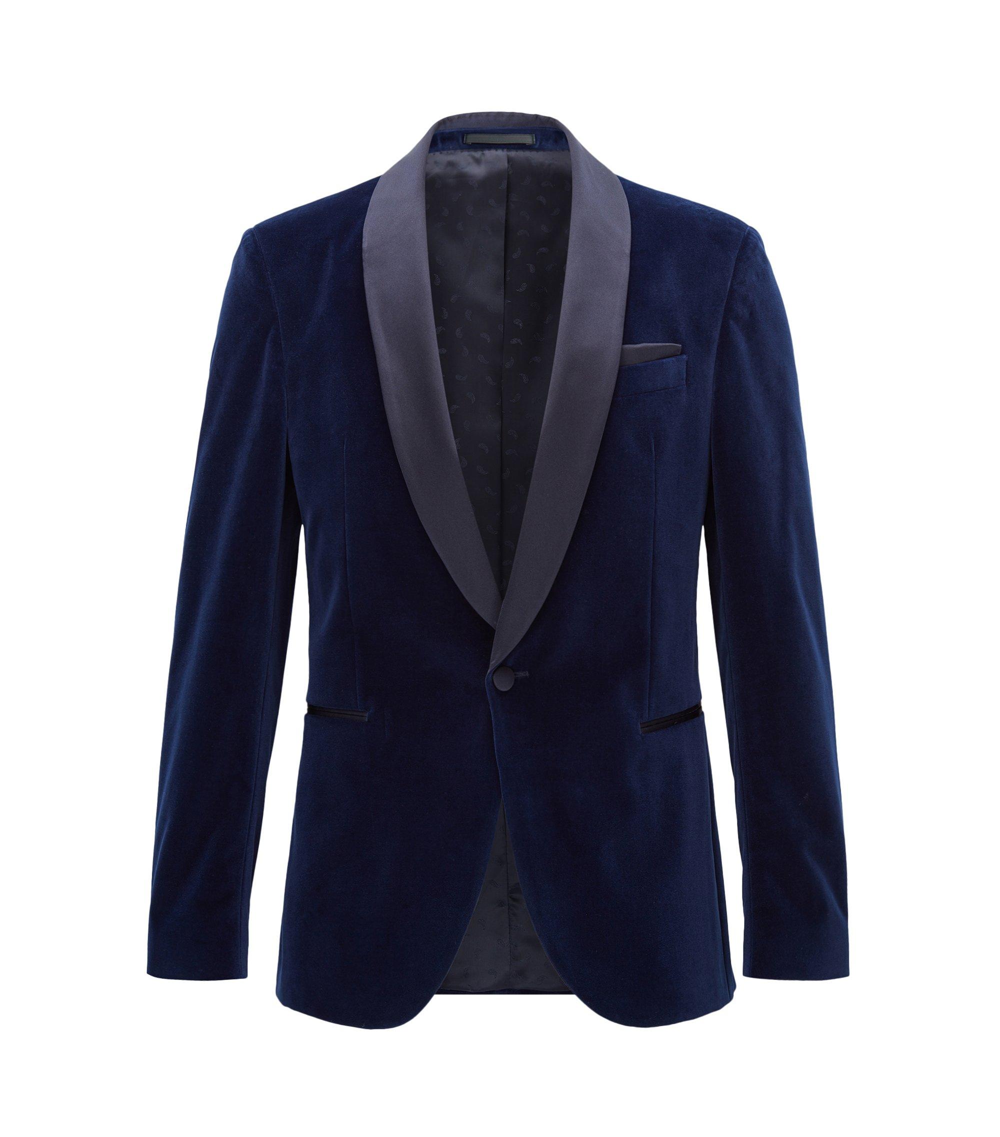 Velvet Dinner Jacket, Slim Fit   Nemir , Dark Blue
