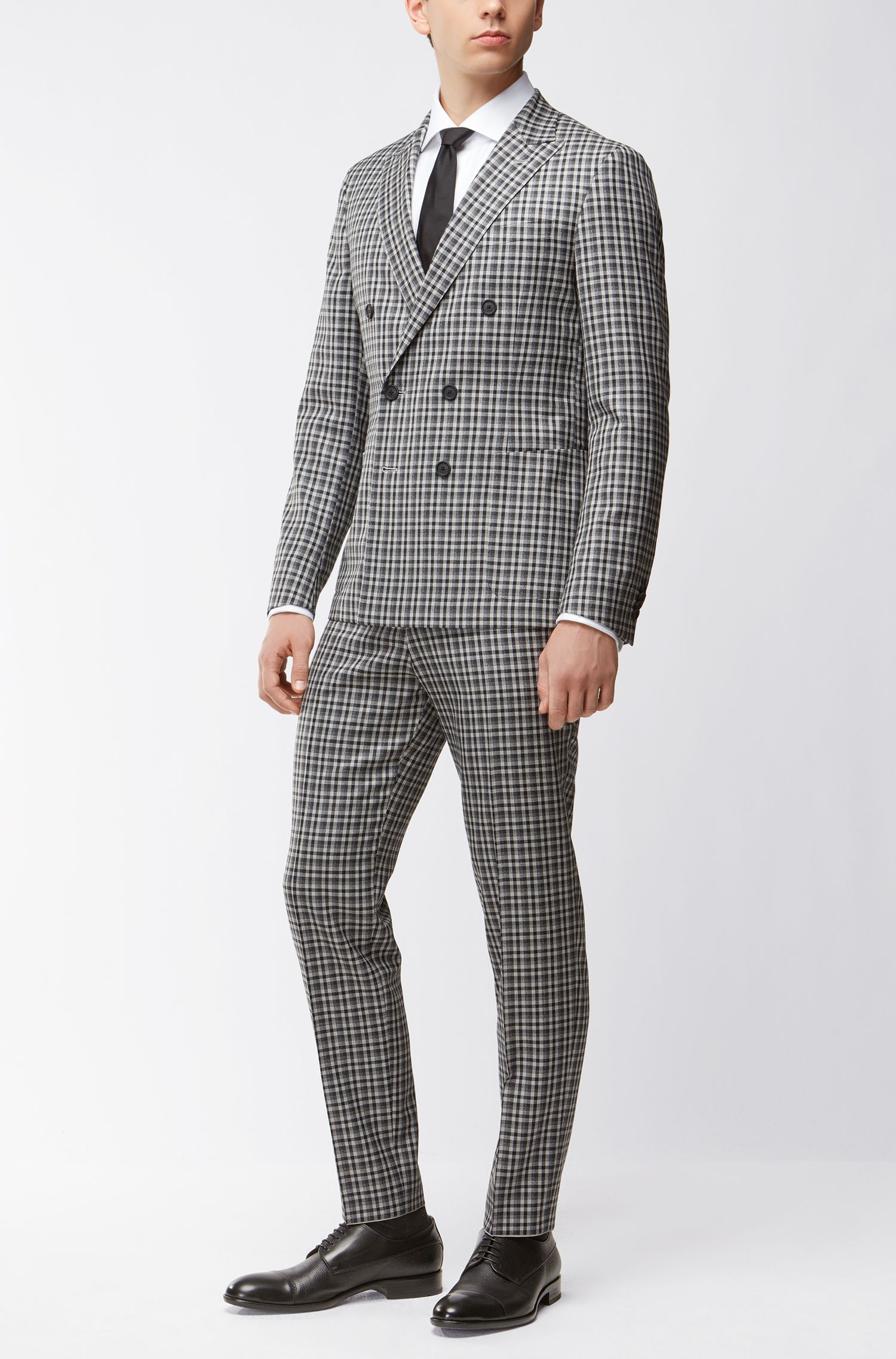 Checked Wool Double-Breasted Sport Coat, Slim Fit | Nayler J, Grey
