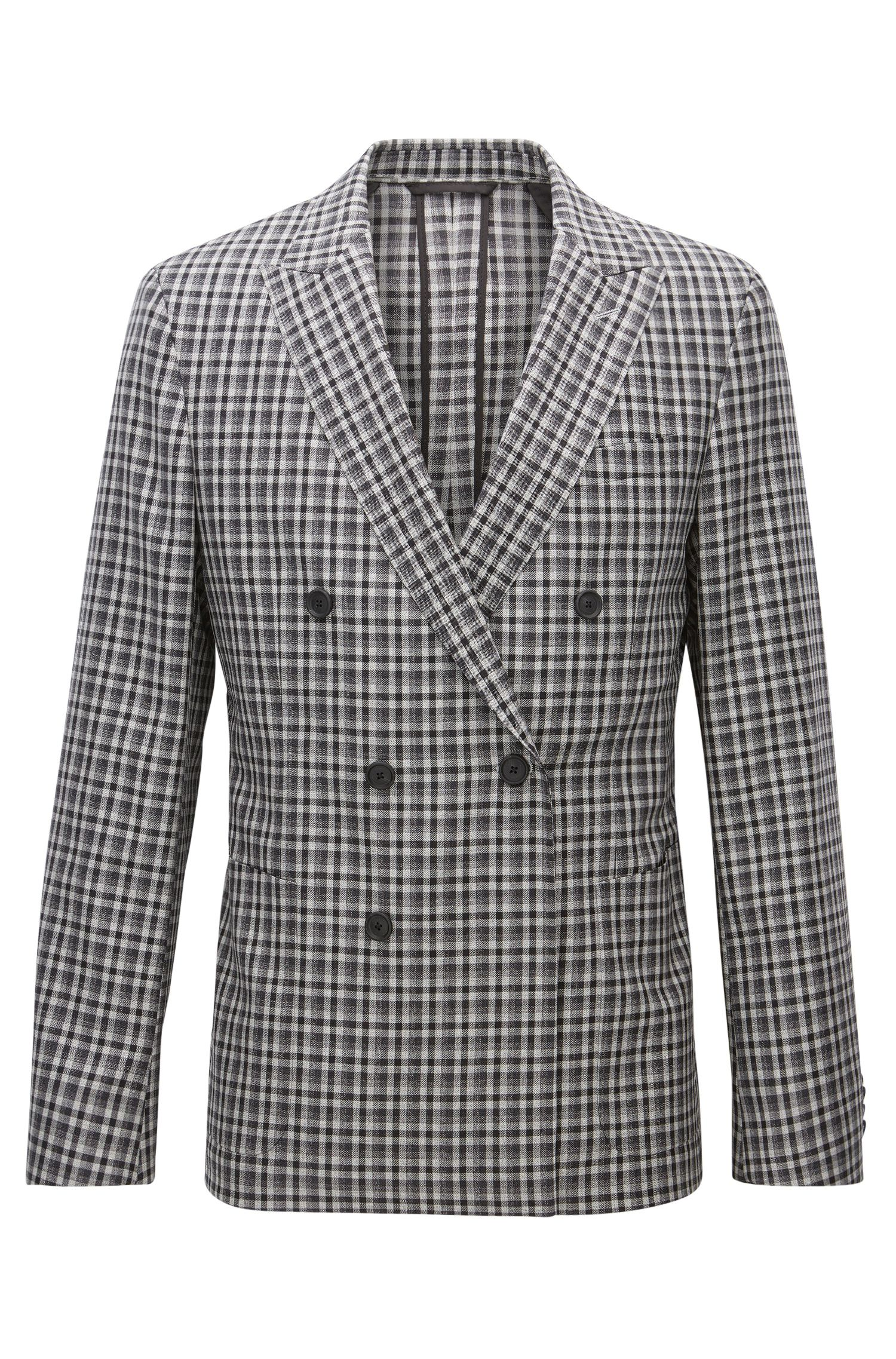 Checked Wool Double-Breasted Sport Coat, Slim Fit | Nayler J