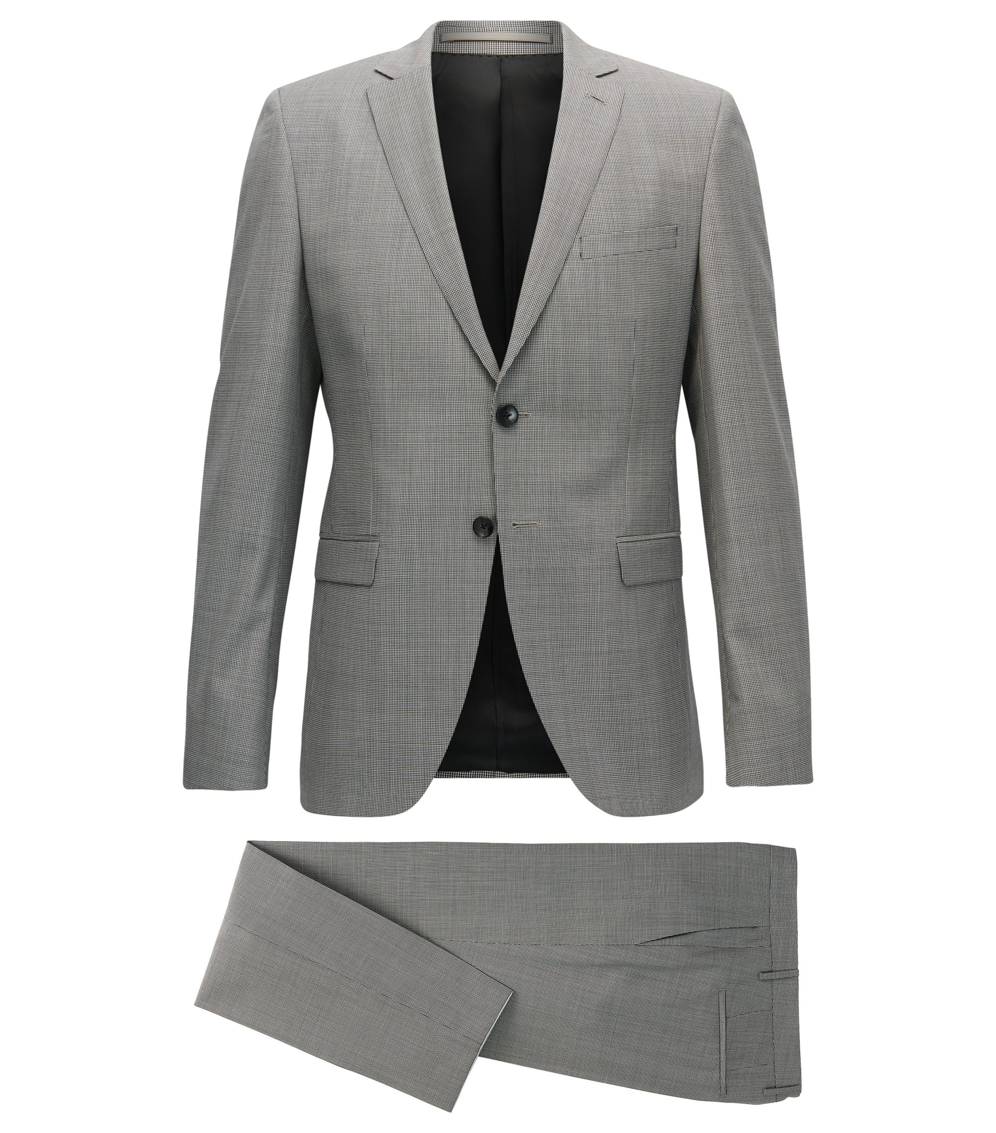 Puppytooth Virgin Wool Suit, Slim Fit | Reymond/Wenton, Open Grey
