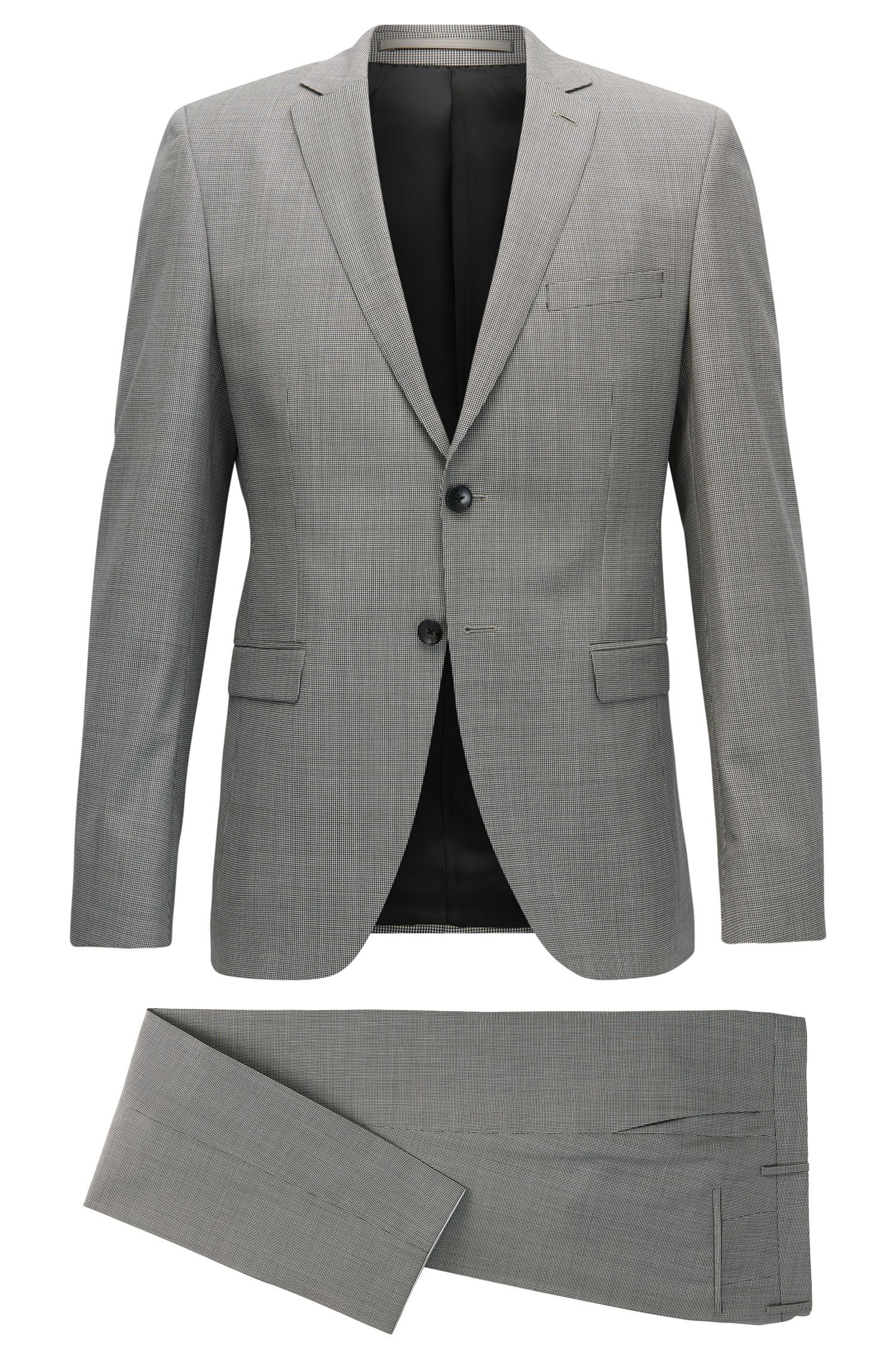 Puppytooth Virgin Wool Suit, Slim Fit | Reymond/Wenton