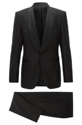 Virgin Wool-Silk Tuxedo, Slim Fit | Herwyn/Gewon, Black