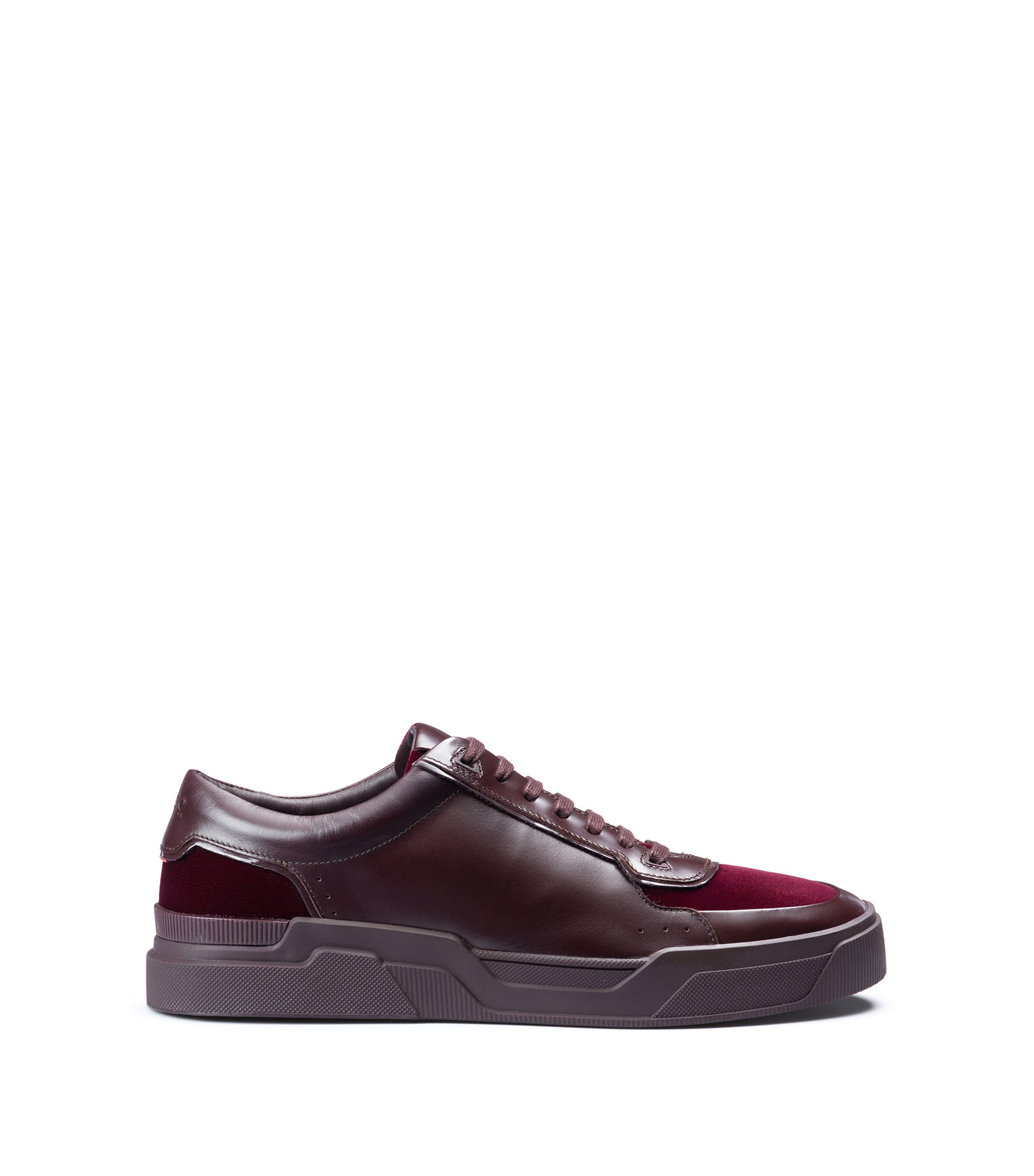 Nappa Leather & Italian Velvet Sneaker | Symmetric Tenn Itvlt, Dark Red