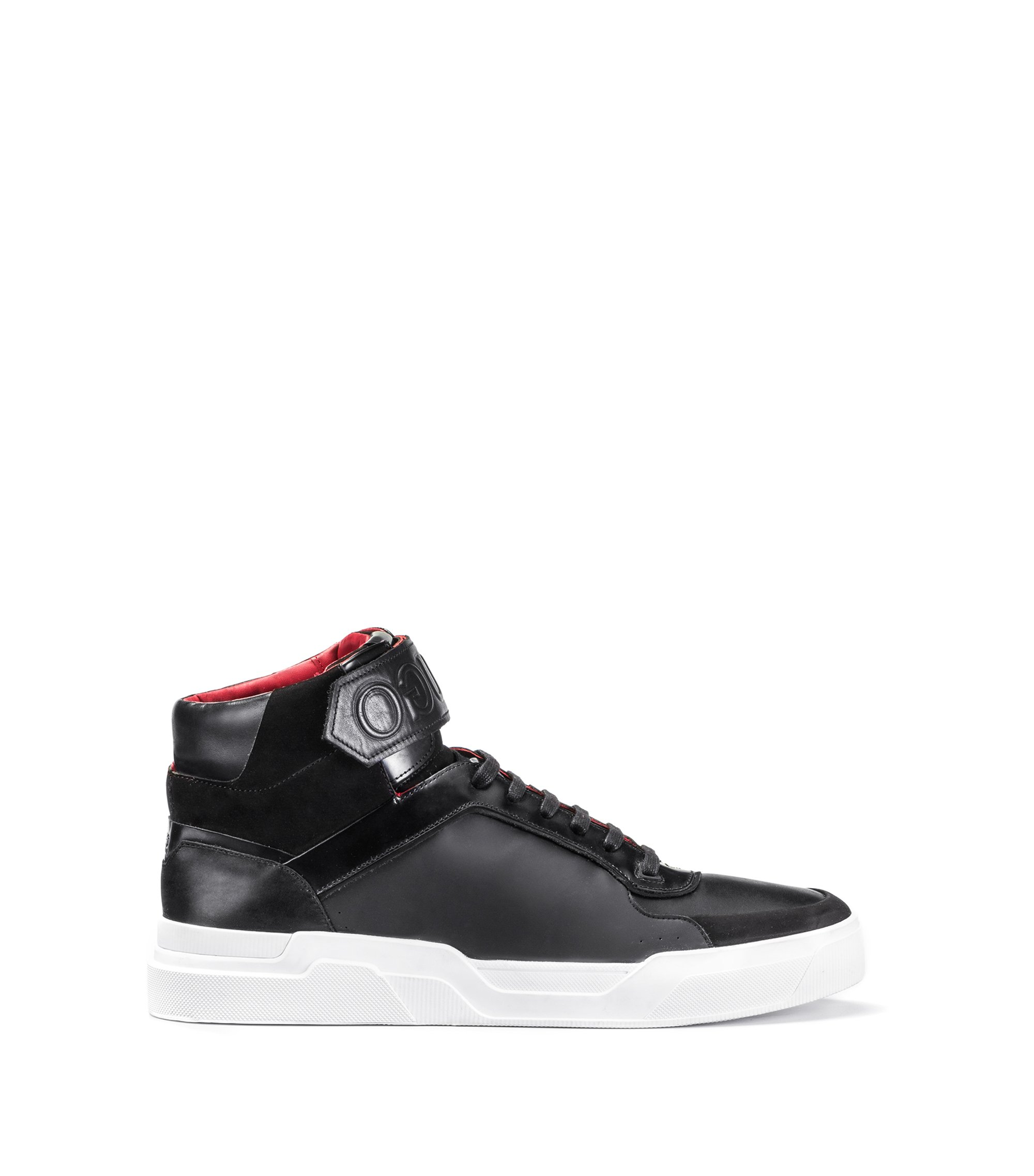 Leather High-Top Sneaker | Symmetric Hito Hugo, Black