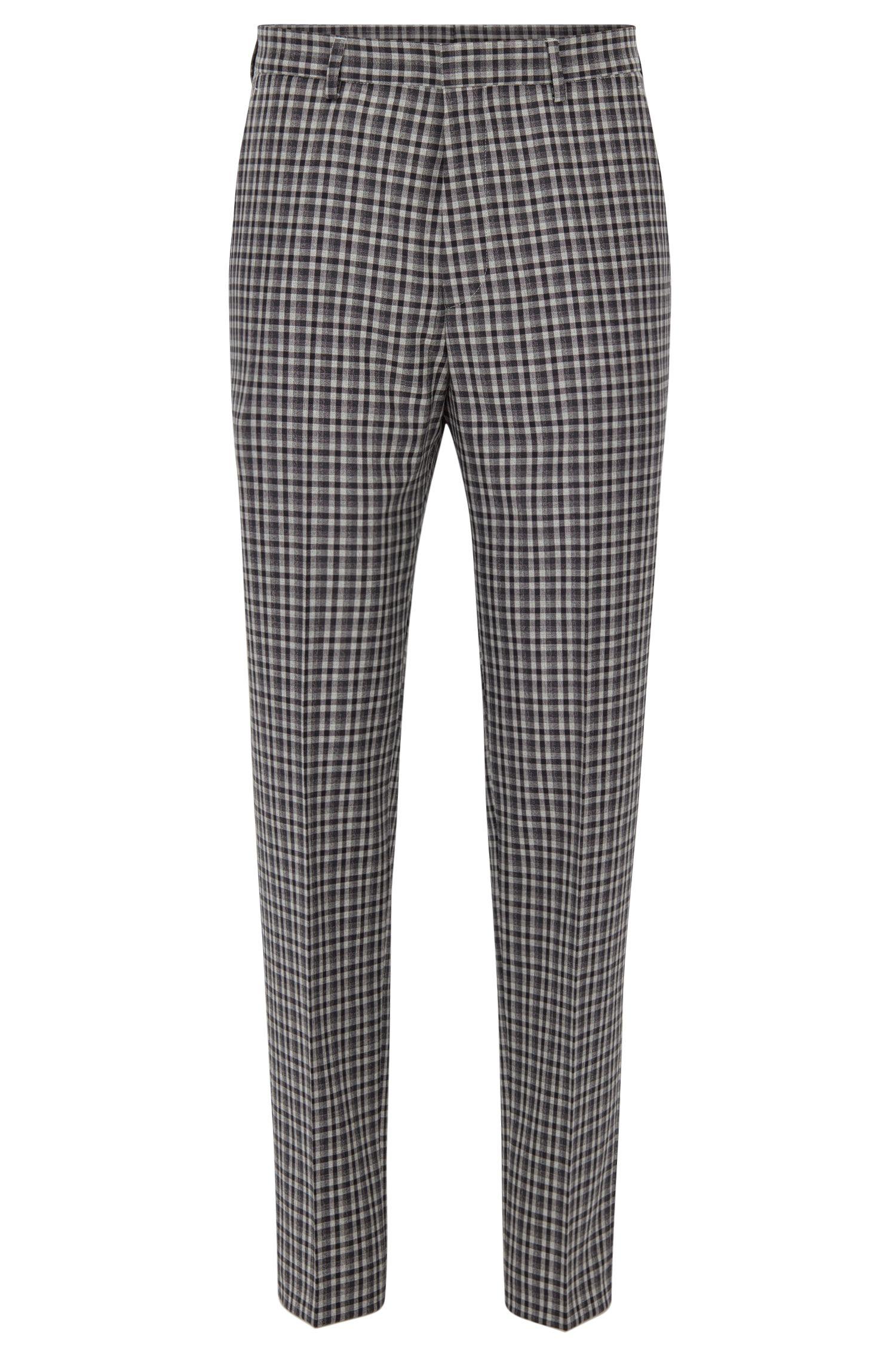 Checked Wool Dress Pant, Slim Fit | Pirko, Grey