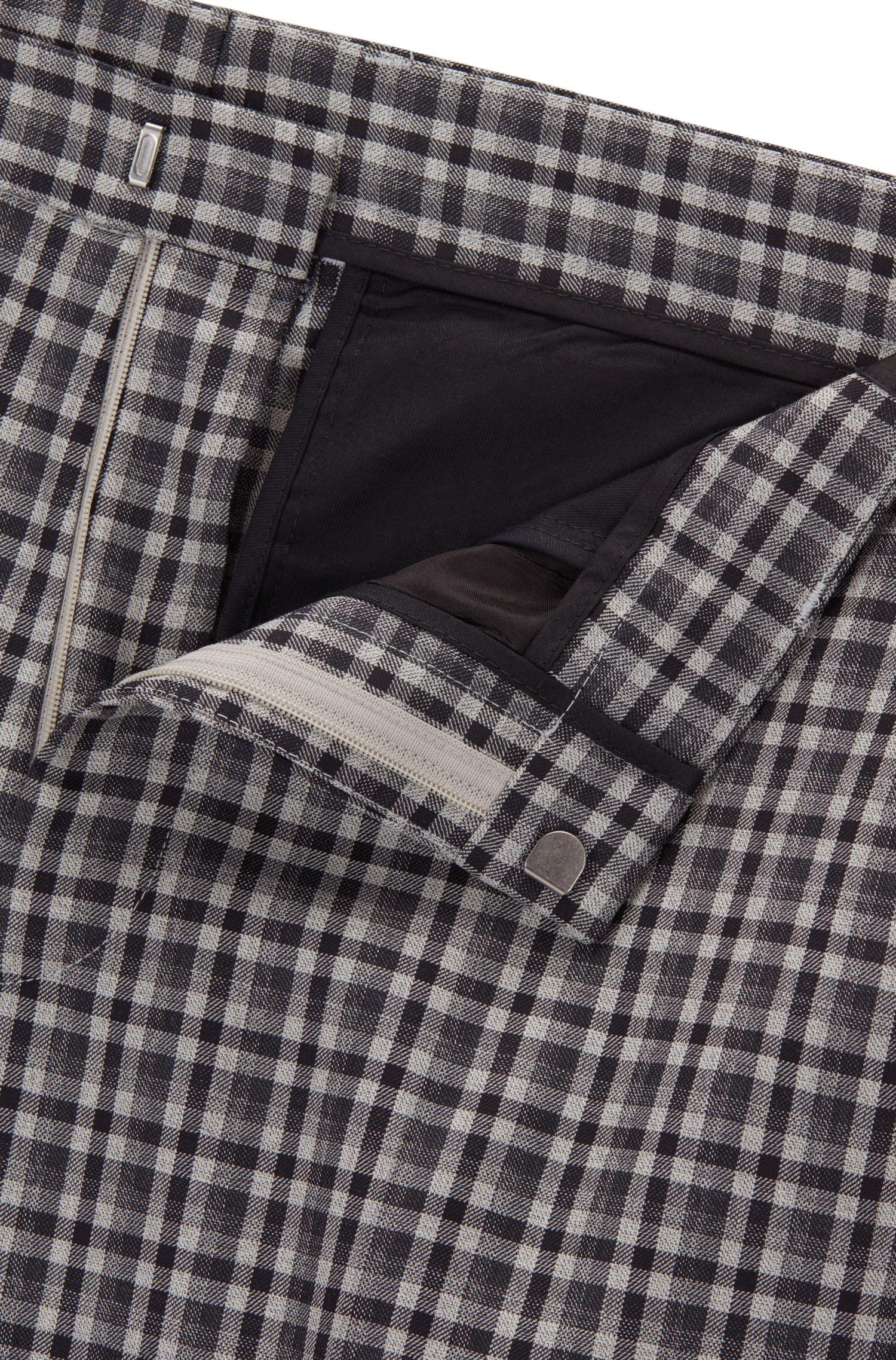 Checked Wool Dress Pant, Slim Fit   Pirko, Grey