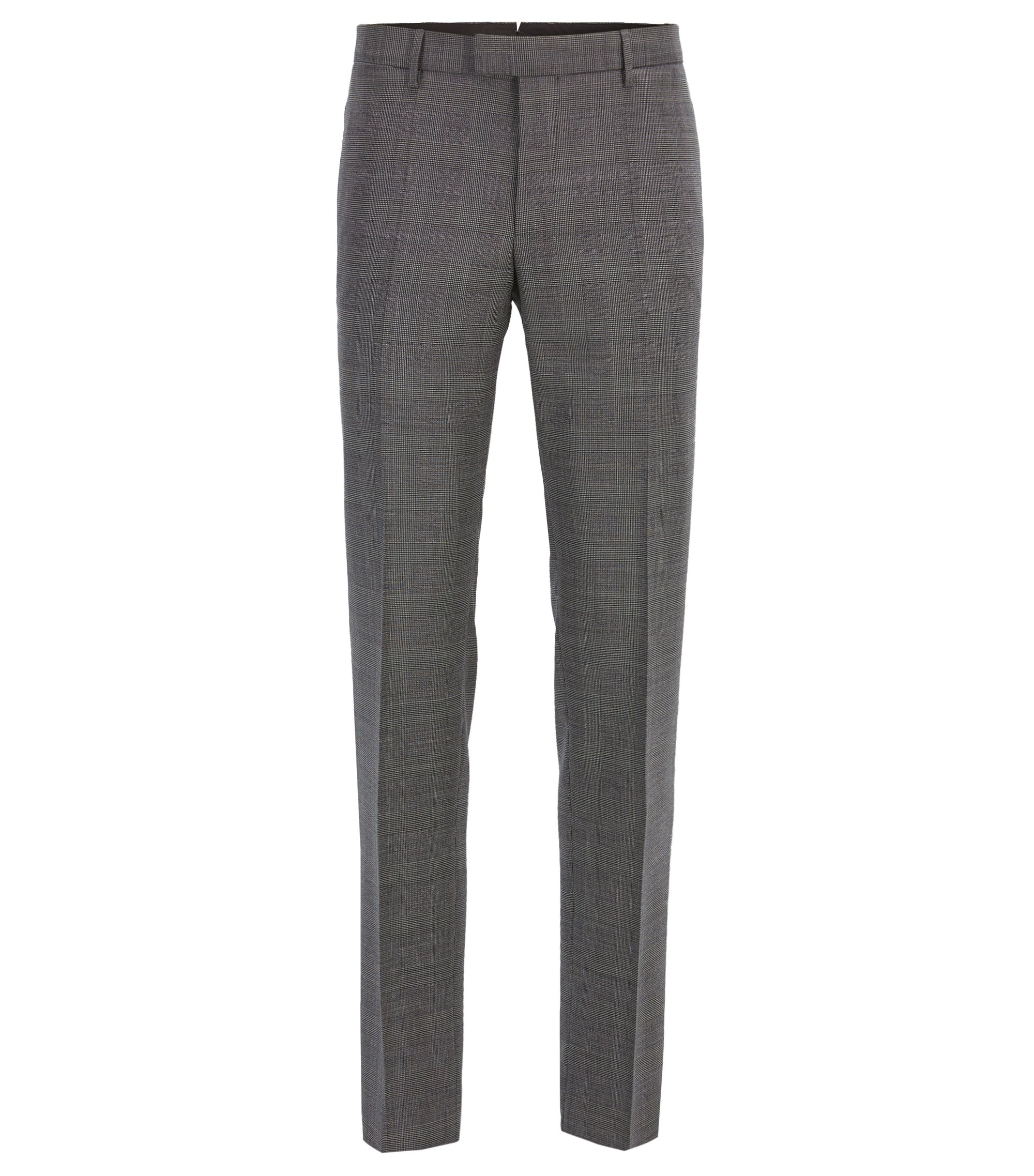 Glen Plaid Virgin Wool, Slim Fit | T-Gary, Open Grey