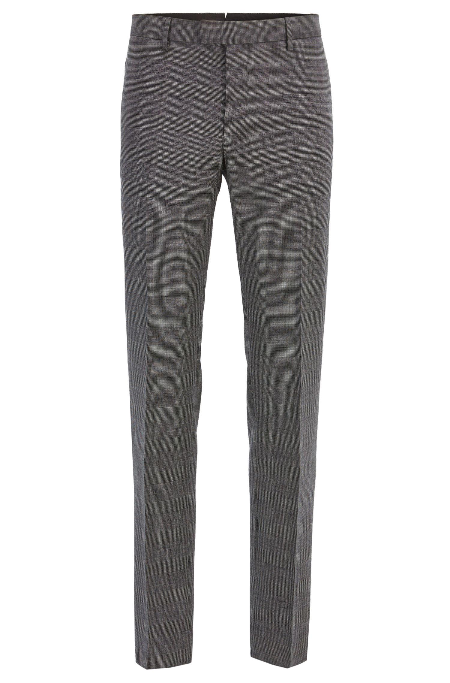 Glen Plaid Virgin Wool, Slim Fit | T-Gary, Open Grey