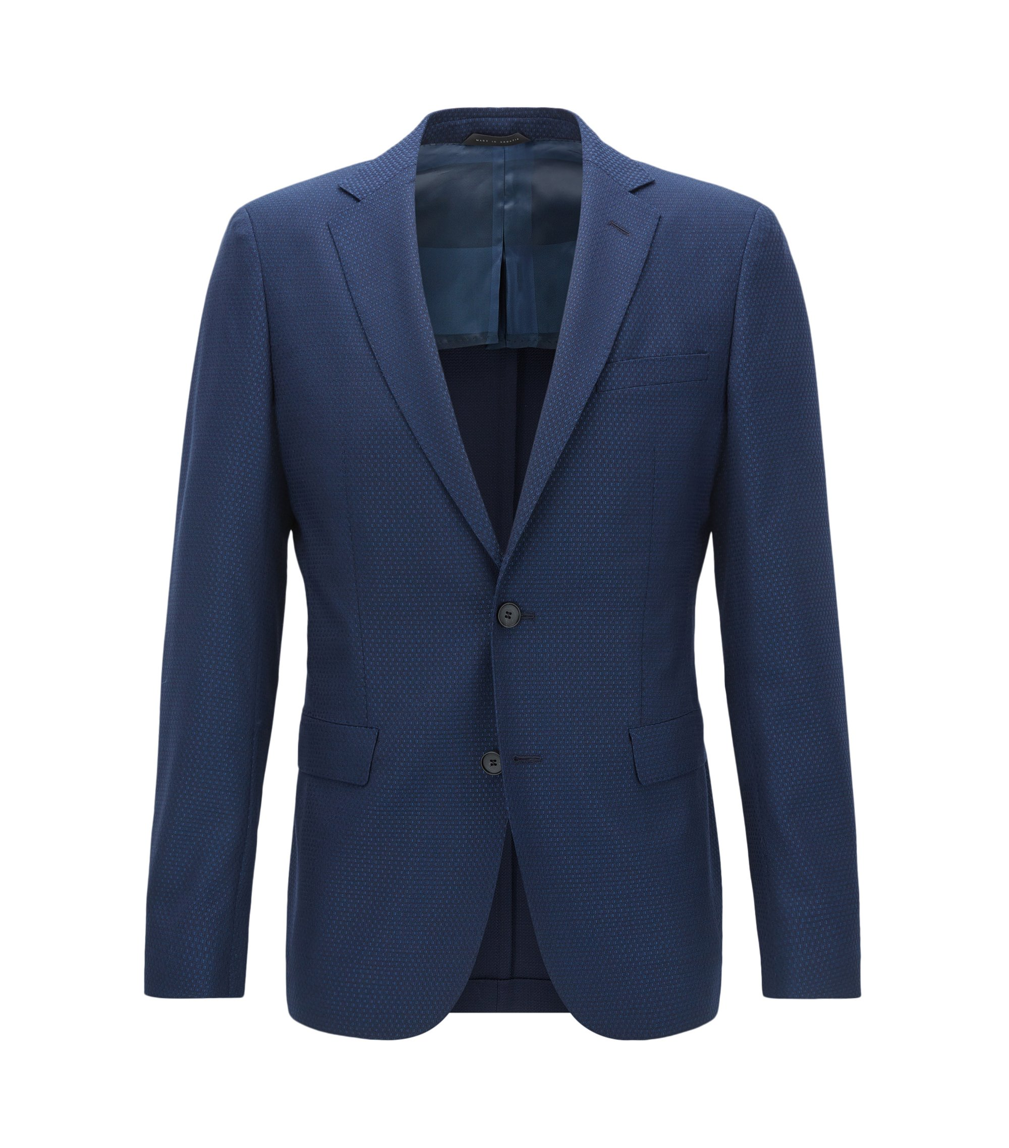 Basketweave Virgin Wool Sport Coat, Extra Slim Fit | Roan, Dark Blue