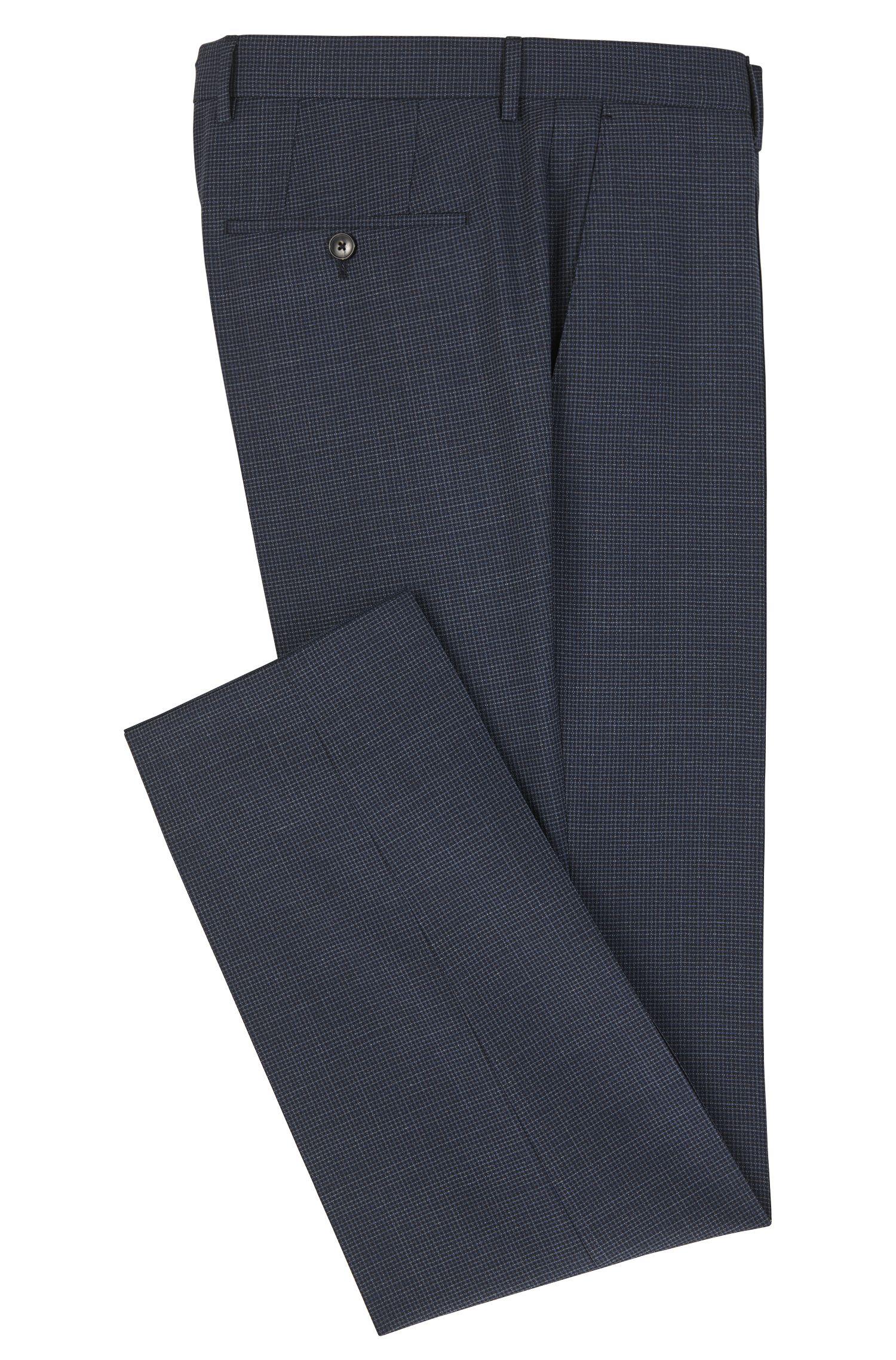 Basketweave Virgin Wool Dress Pant, Slim Fit | Genesis, Dark Blue