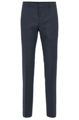 Basketweave Virgin Wool Dress Pant, Slim Fit | Genesis, Dark Blue