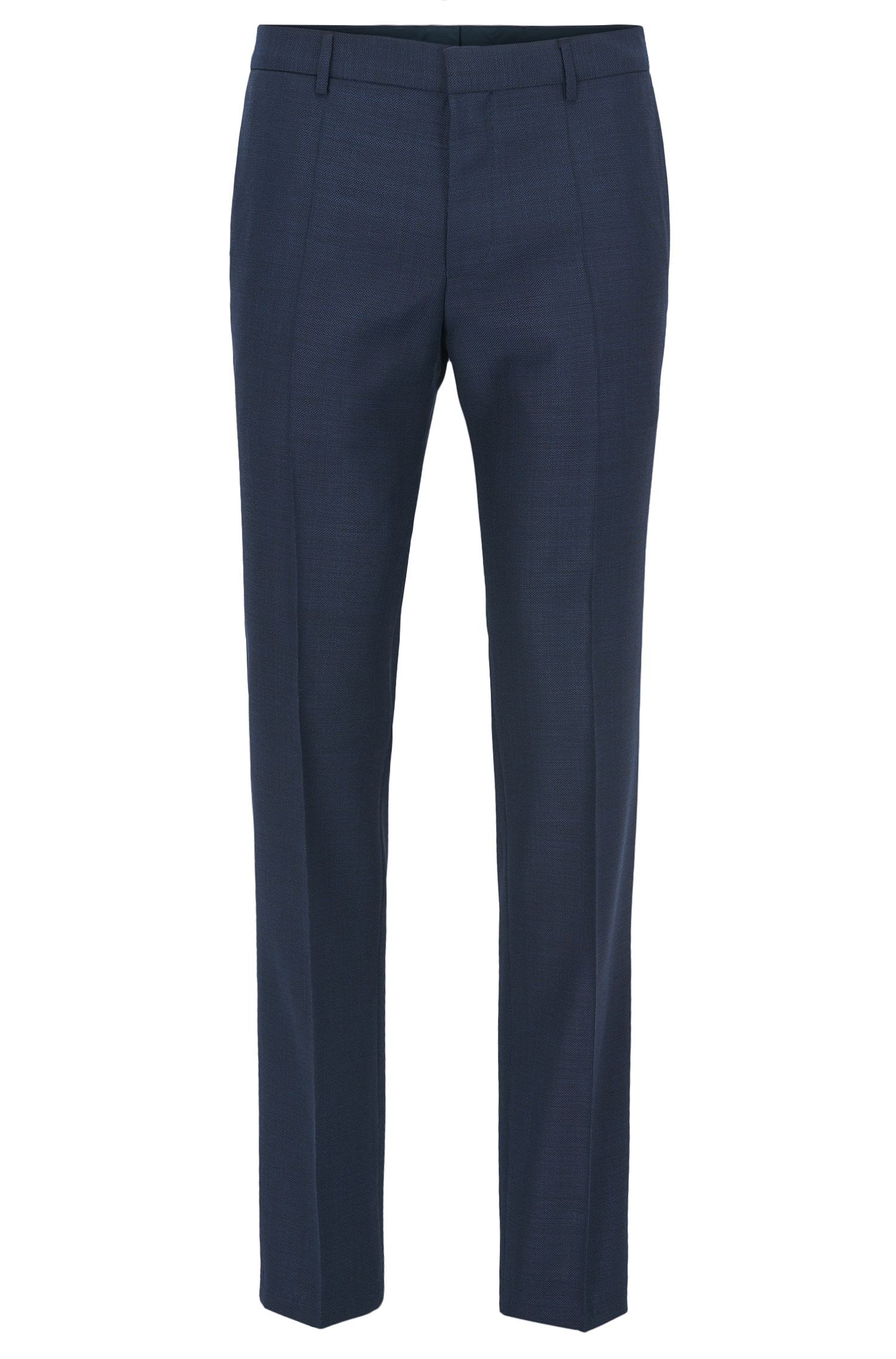 Piped Virgin Wool Dress Pant, Slim Fit | Blake, Dark Blue