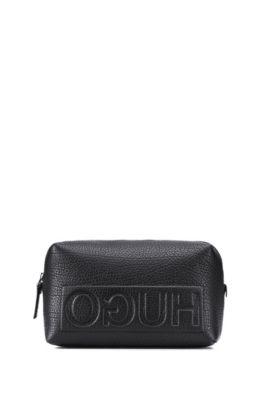 Leather Washbag | Victorian L Washbag, Black
