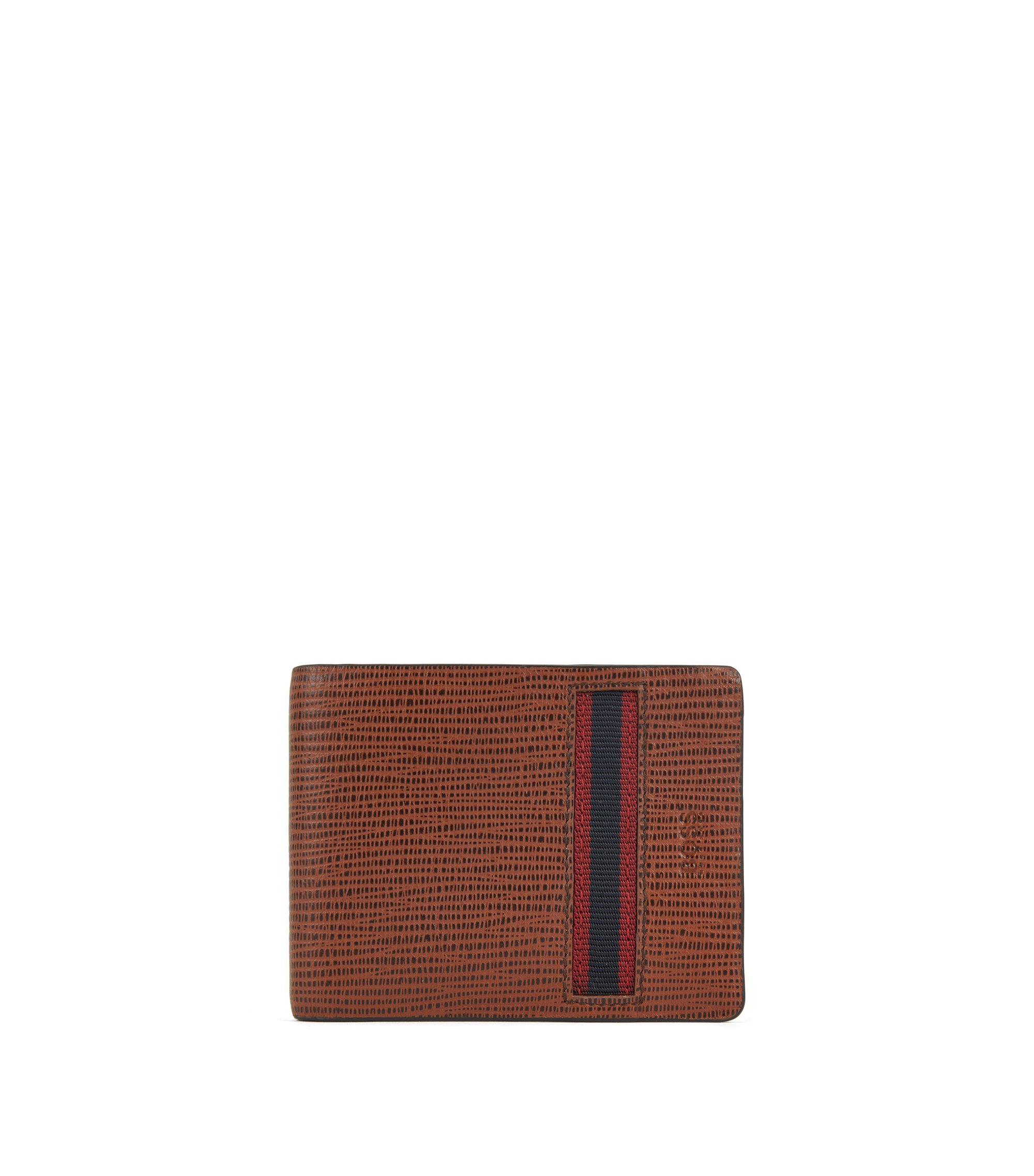 Billfold wallet in calf leather with straw-printed effect, Brown