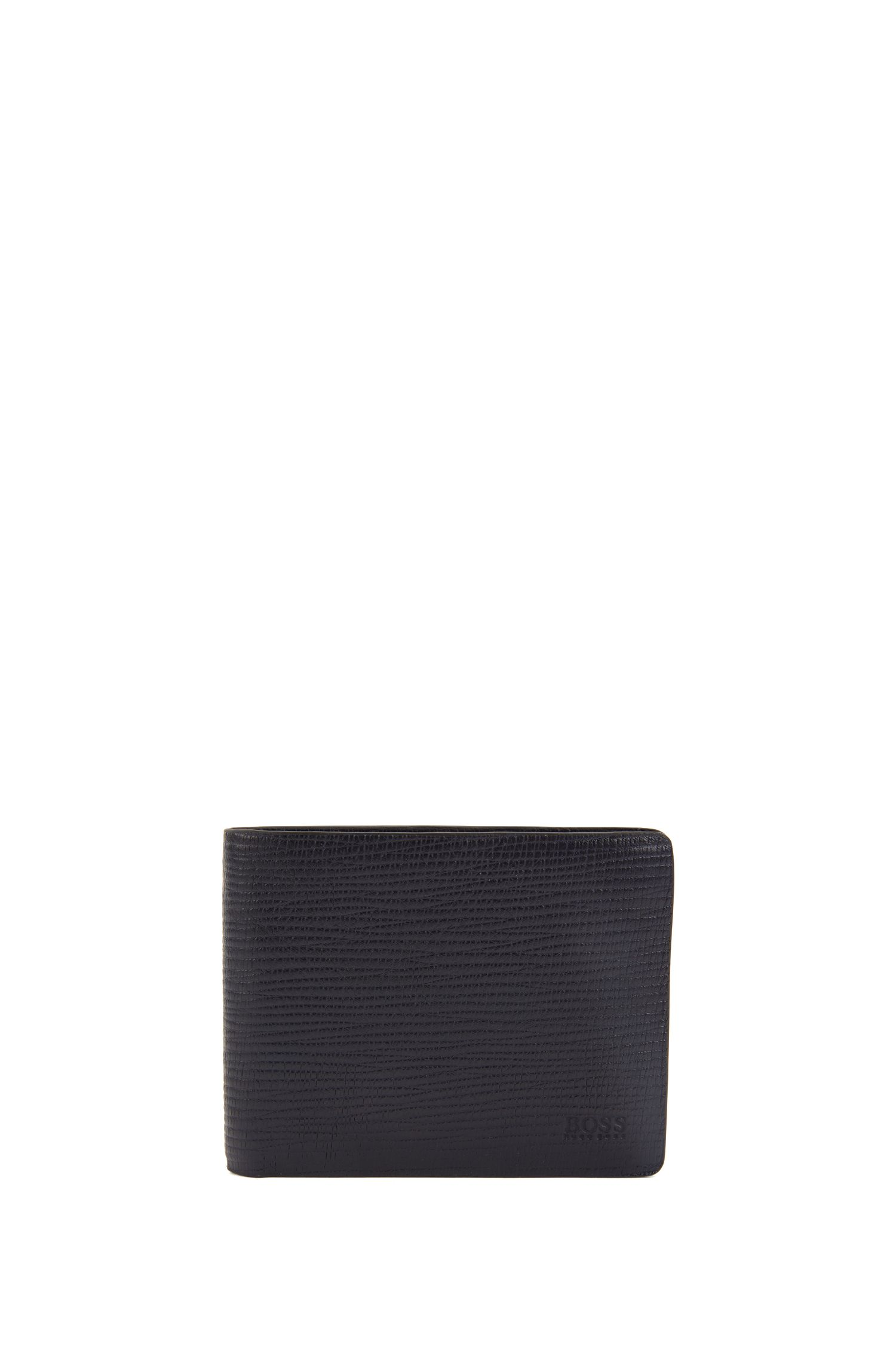 Billfold wallet in calf leather with straw-printed effect, Dark Blue