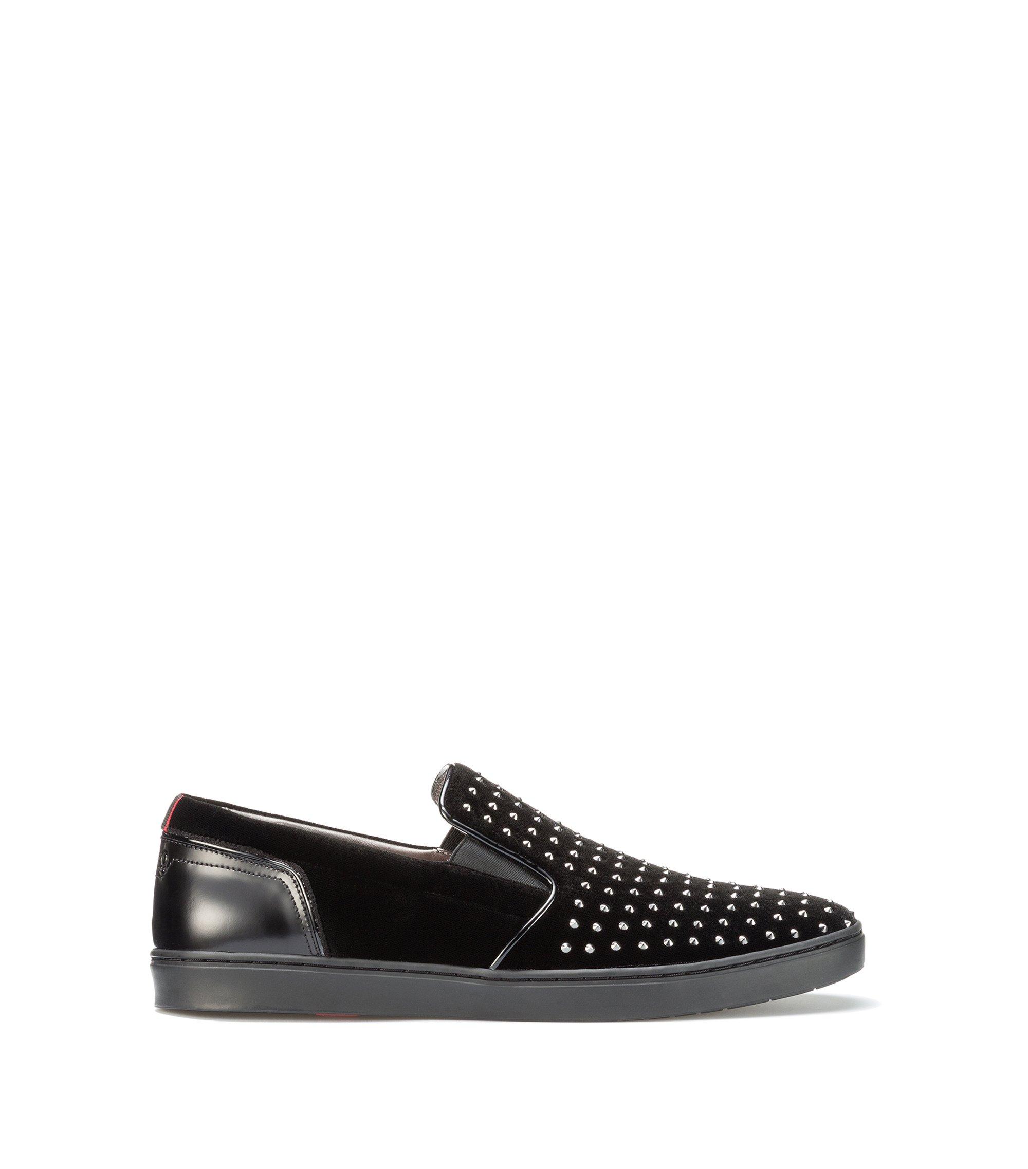 Studded Velvet Slip-On Shoe | Post Slon, Black