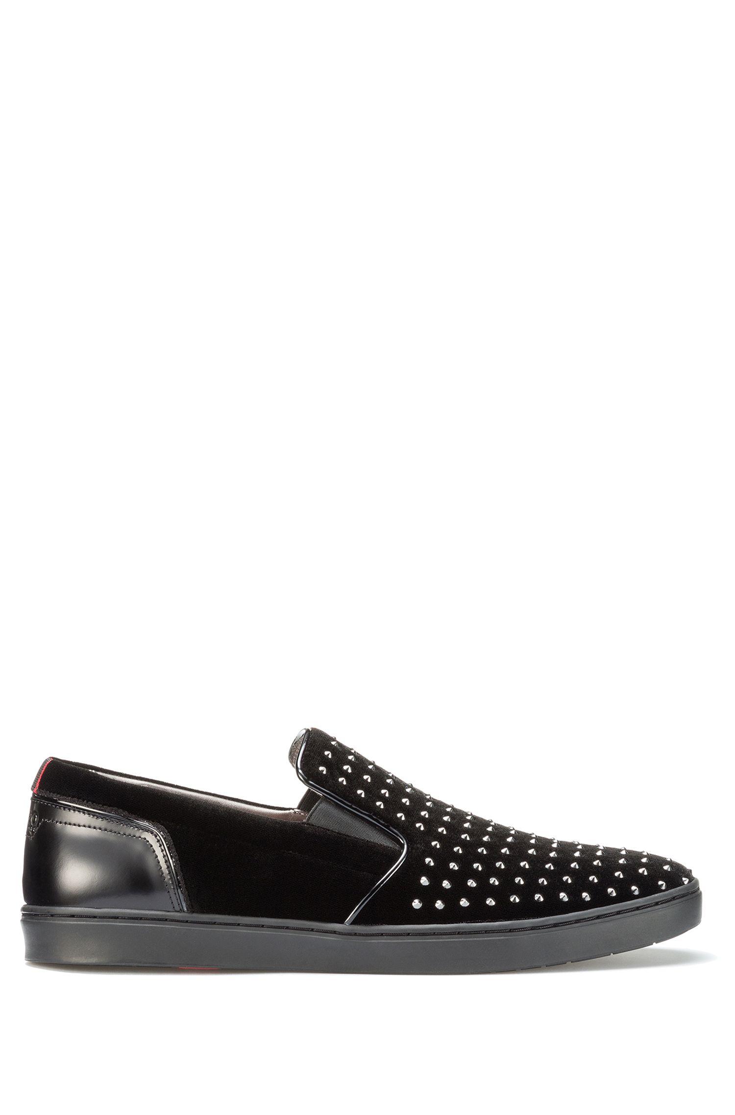 Studded Velvet Slip-On Shoe   Post Slon