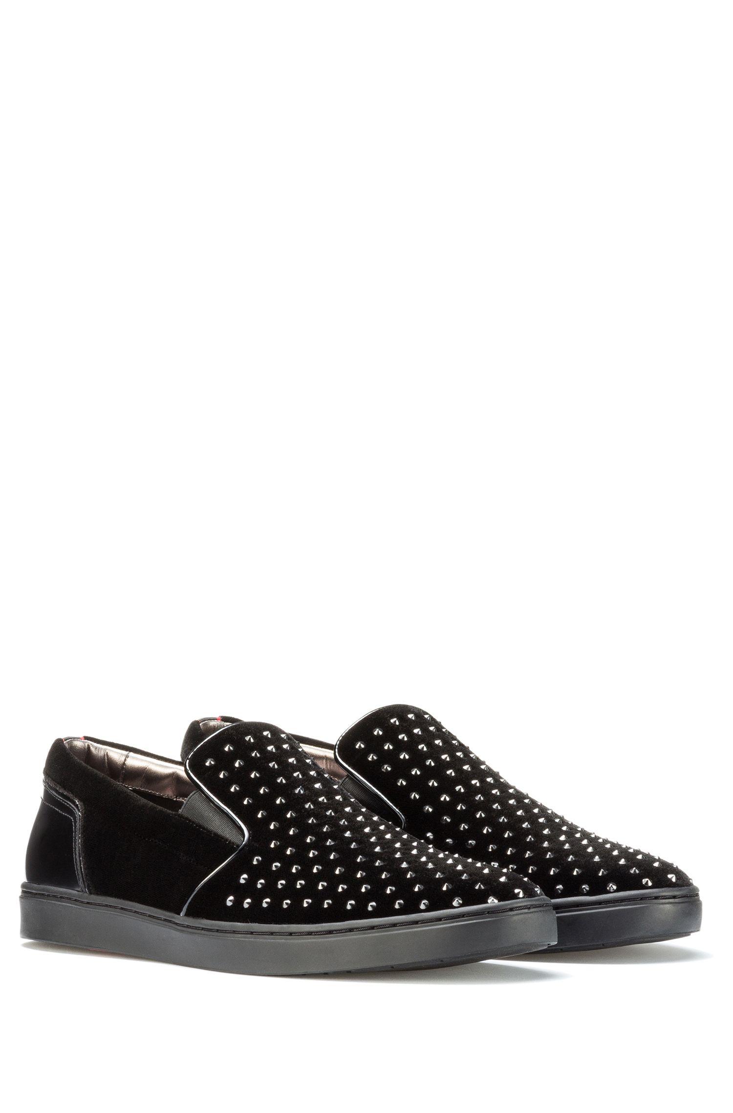 HUGO BOSS Hugo Boss Studded Velvet Slip-On Shoe Post Slon 7 Black