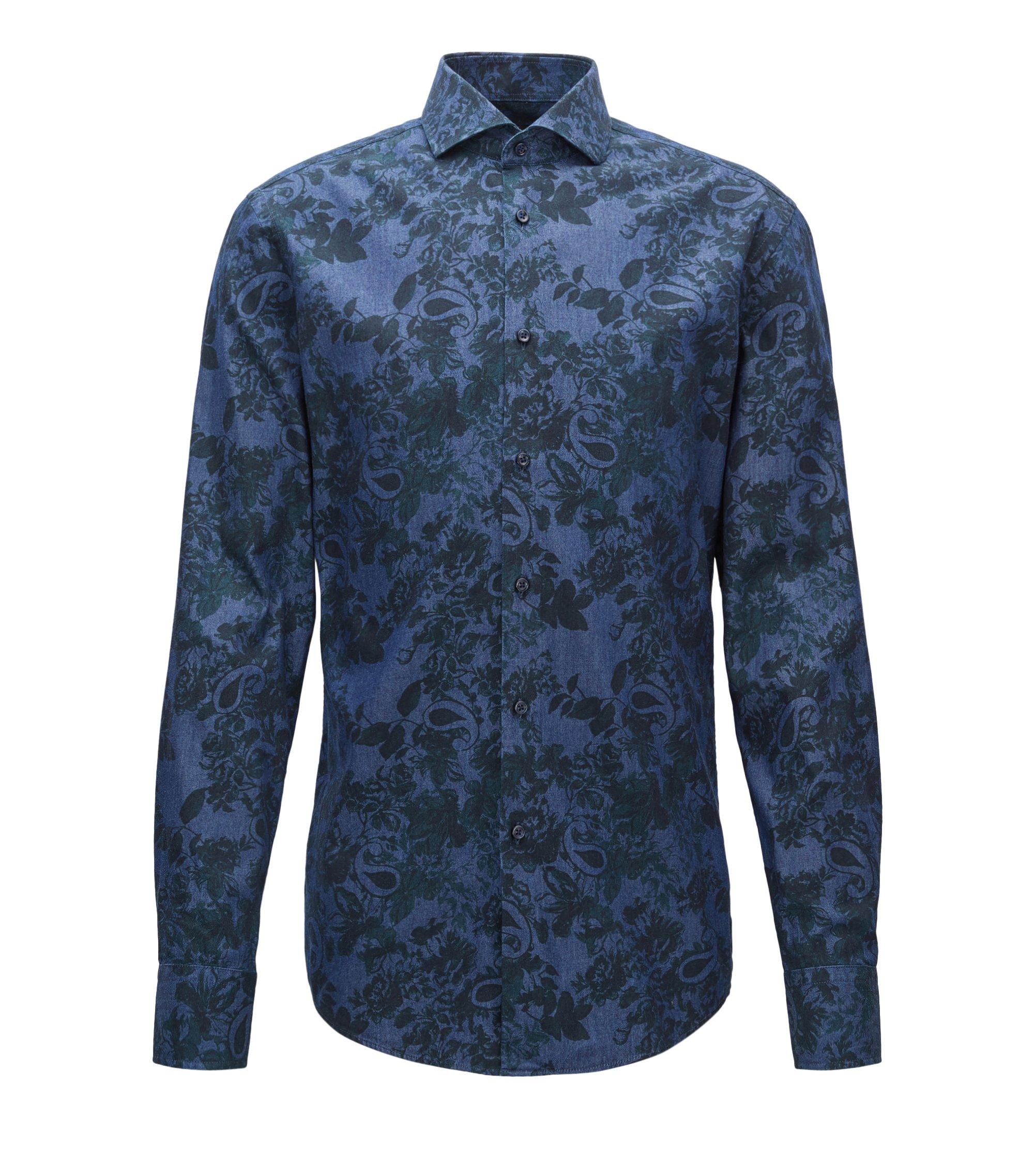 Floral Cotton Dress Shirt, Slim Fit | Jason, Open Green