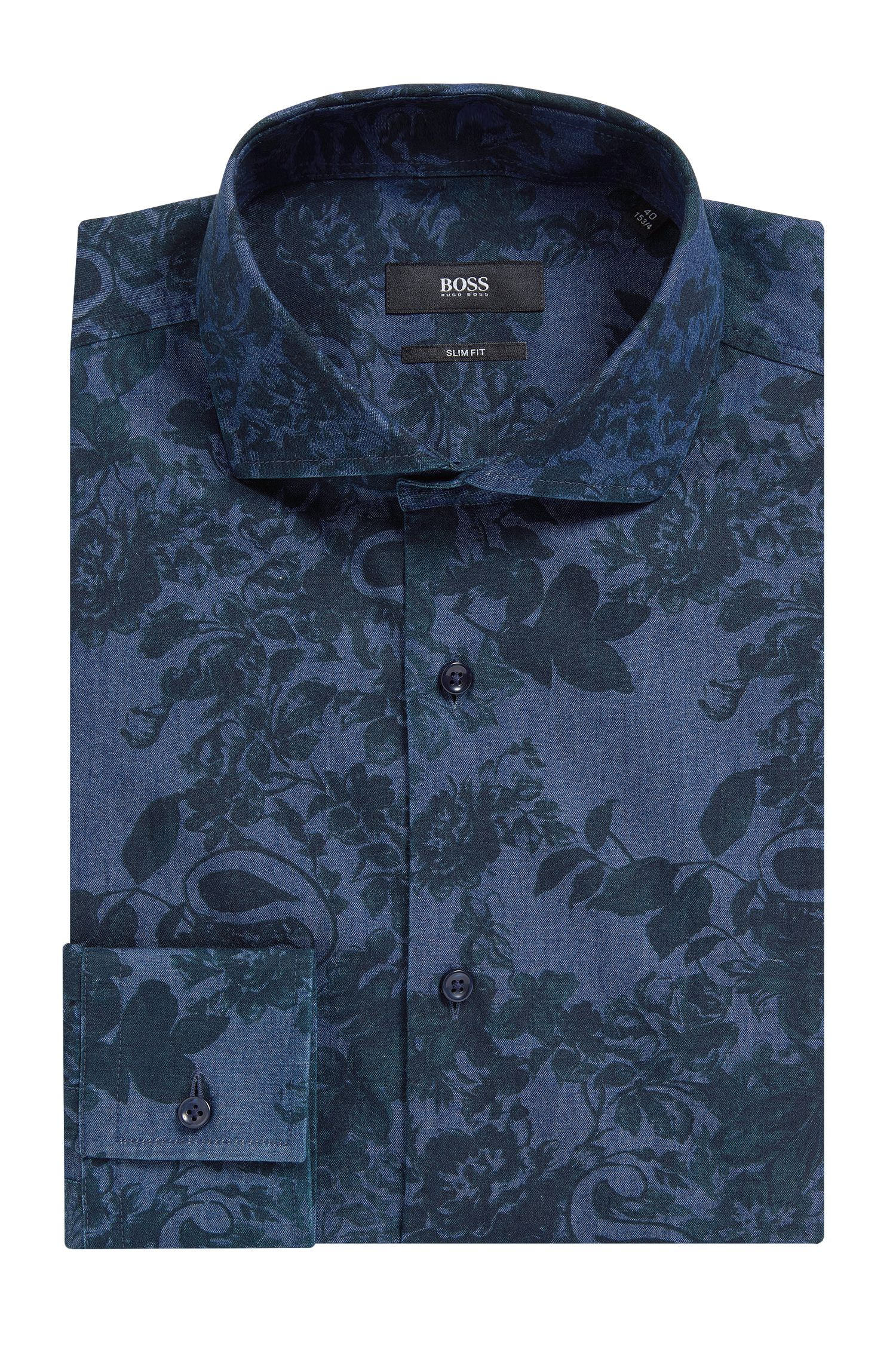 Floral Cotton Dress Shirt, Slim Fit | Jason, Open Green